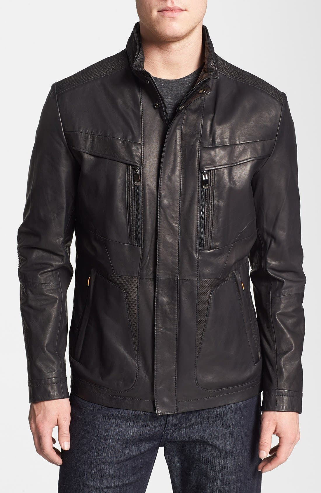 BOSS,                             HUGO BOSS 'McLaren - Nivelles' Leather Jacket,                             Main thumbnail 1, color,                             001