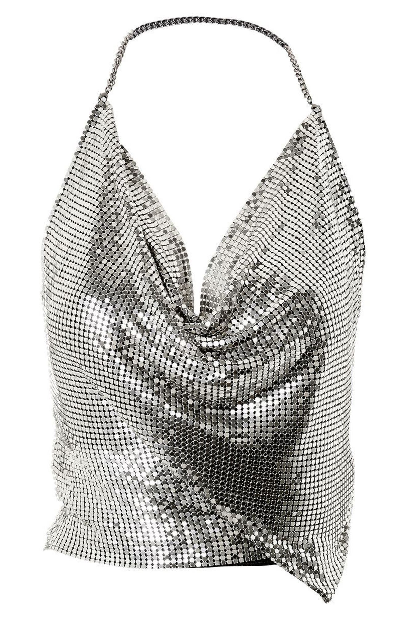 Chain Mail Halter Neck Top,                             Alternate thumbnail 3, color,                             043