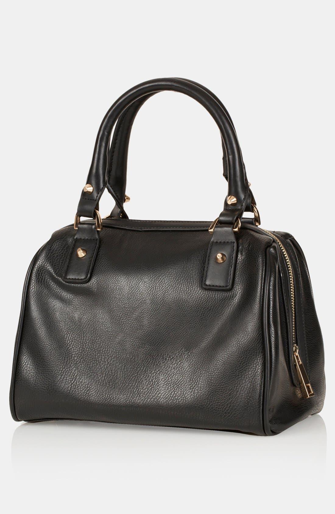 'Medium' Faux Leather Bowling Bag,                             Alternate thumbnail 3, color,                             001