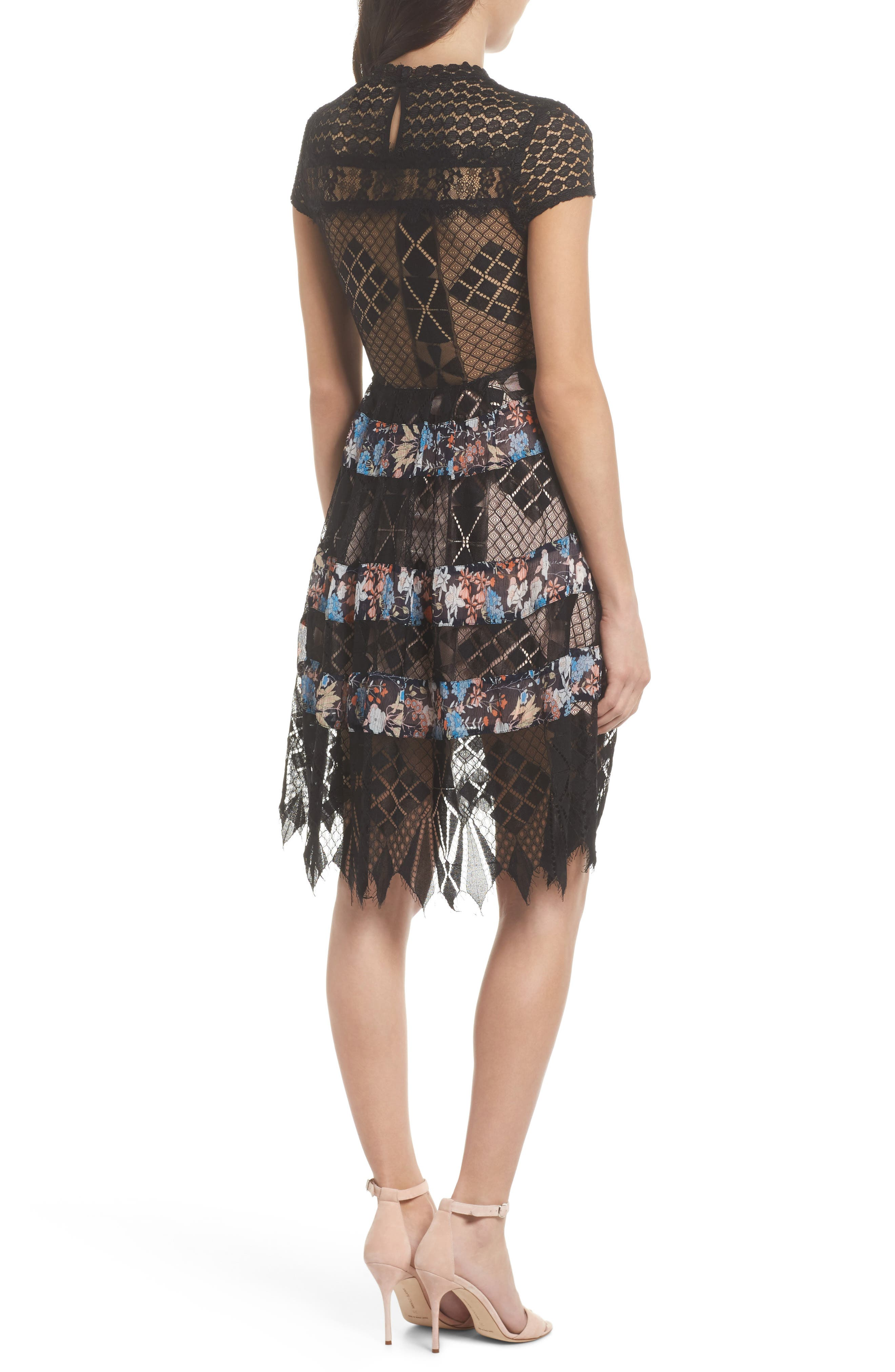 Adriana Lace Panel Dress,                             Alternate thumbnail 2, color,                             400