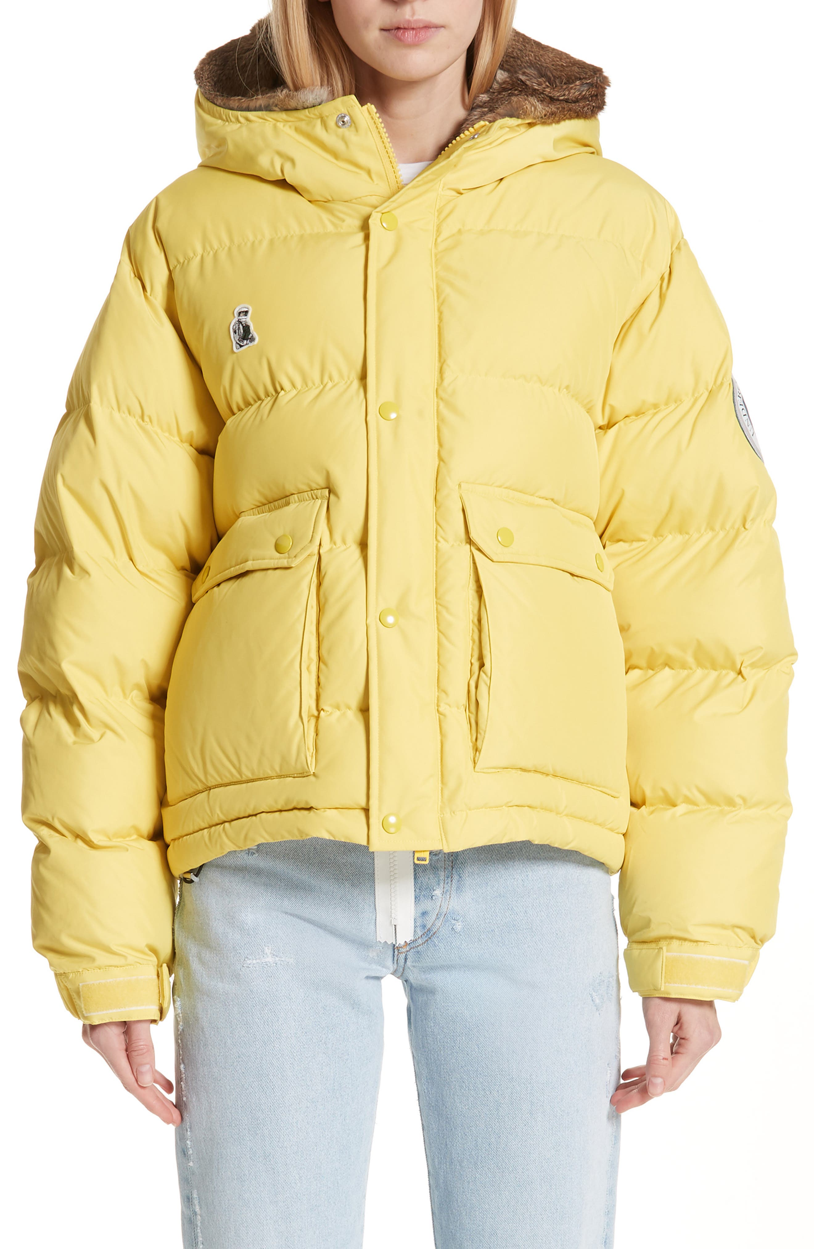 UNDERCOVER,                             Hooded Puffer Coat With Genuine Rabbit Fur Trim,                             Main thumbnail 1, color,                             700