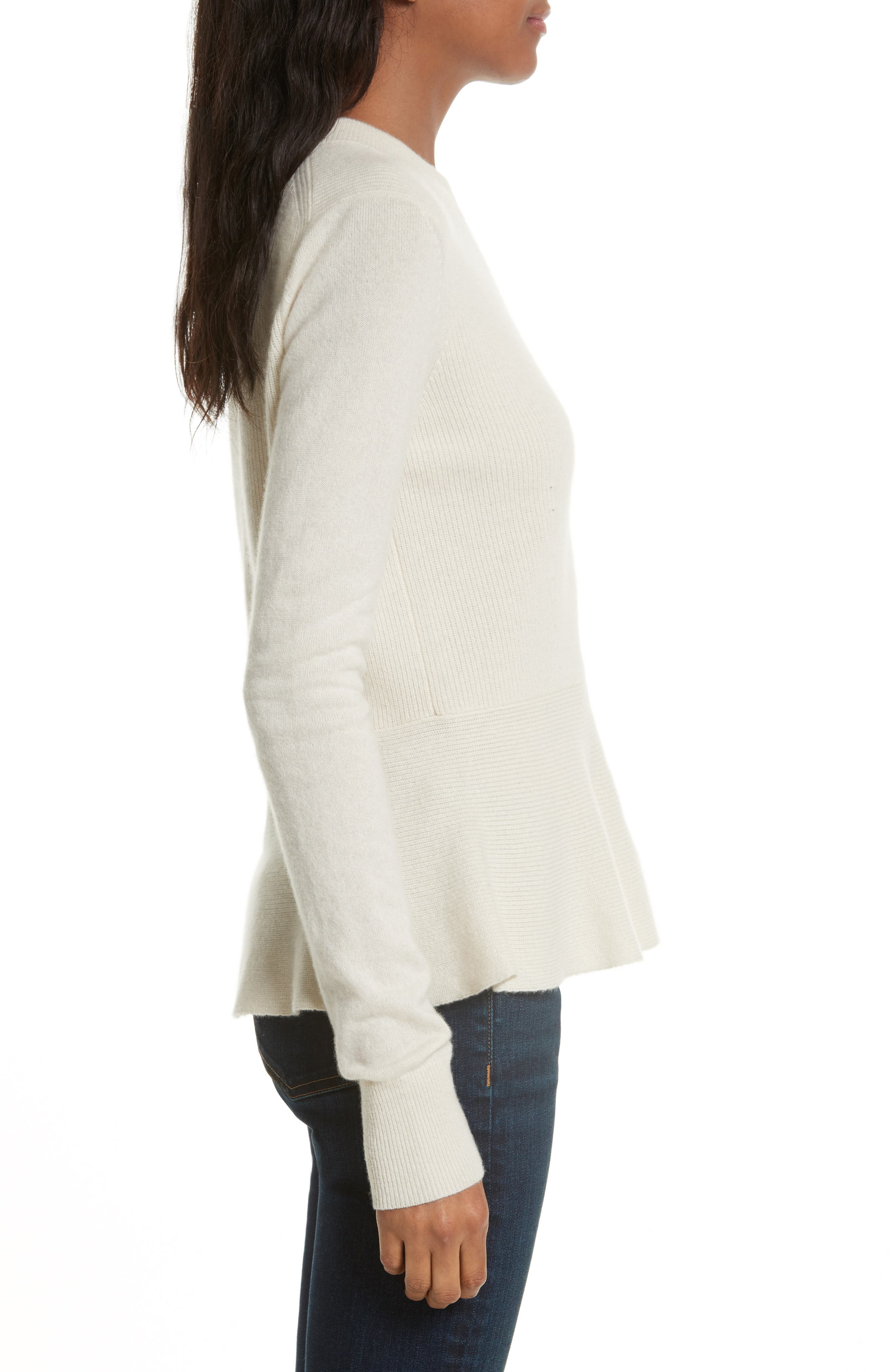 Raleigh Cashmere Peplum Sweater,                             Alternate thumbnail 9, color,