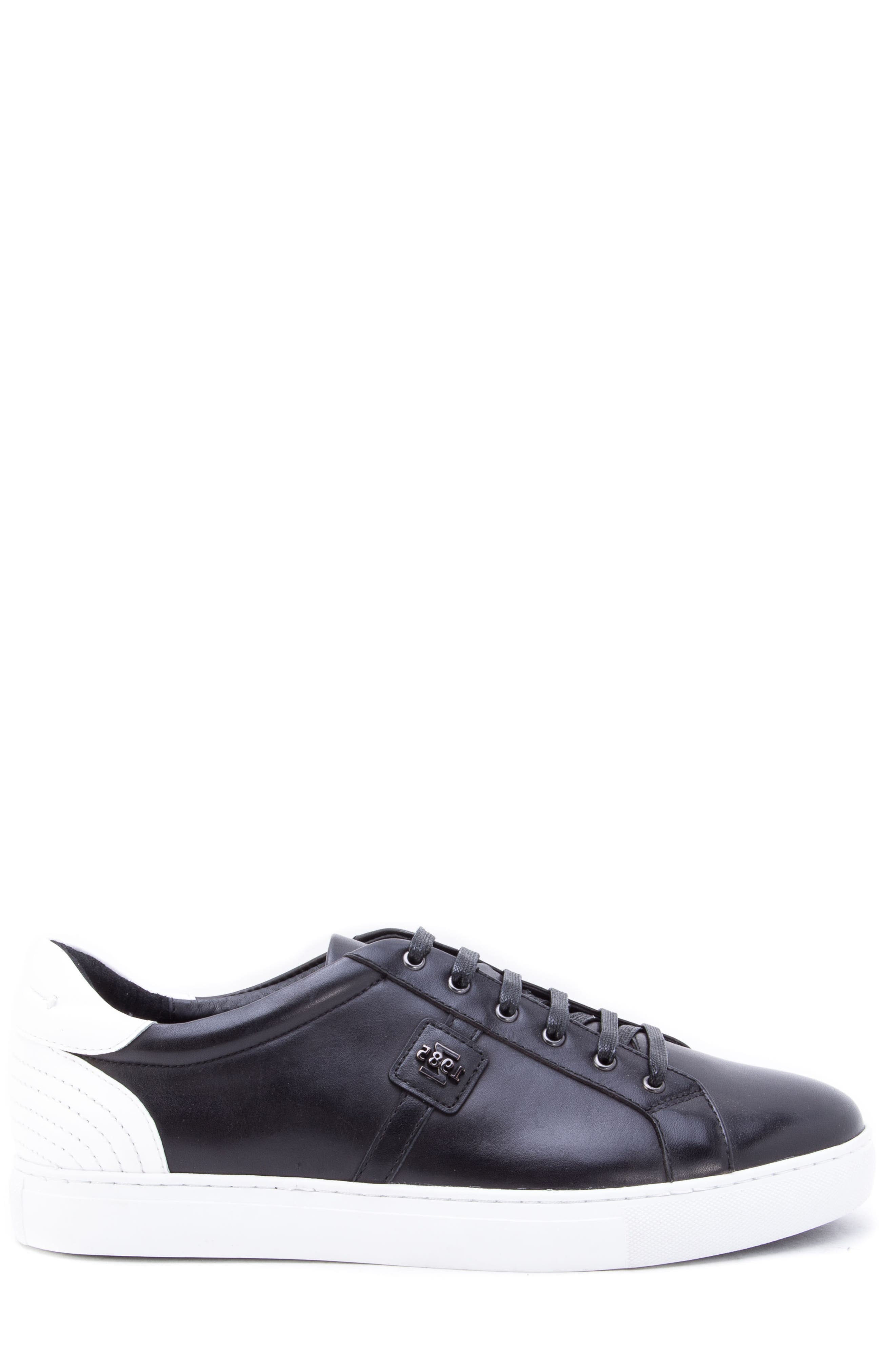 Scheffer Low Top Sneaker,                             Alternate thumbnail 3, color,                             BLACK LEATHER