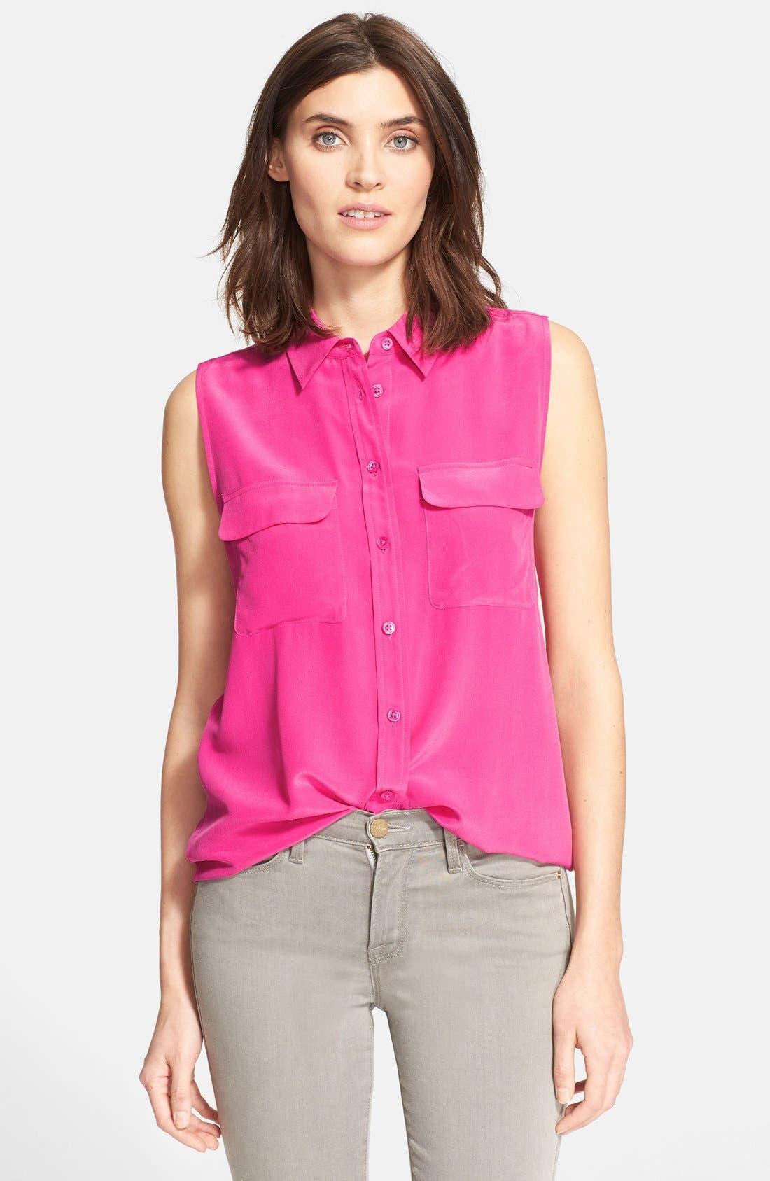 'Slim Signature' Sleeveless Silk Shirt,                             Main thumbnail 37, color,