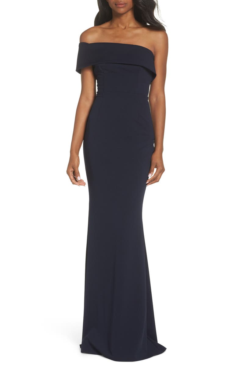 Katie May Titan One-Shoulder Cutout Crepe Gown | Nordstrom
