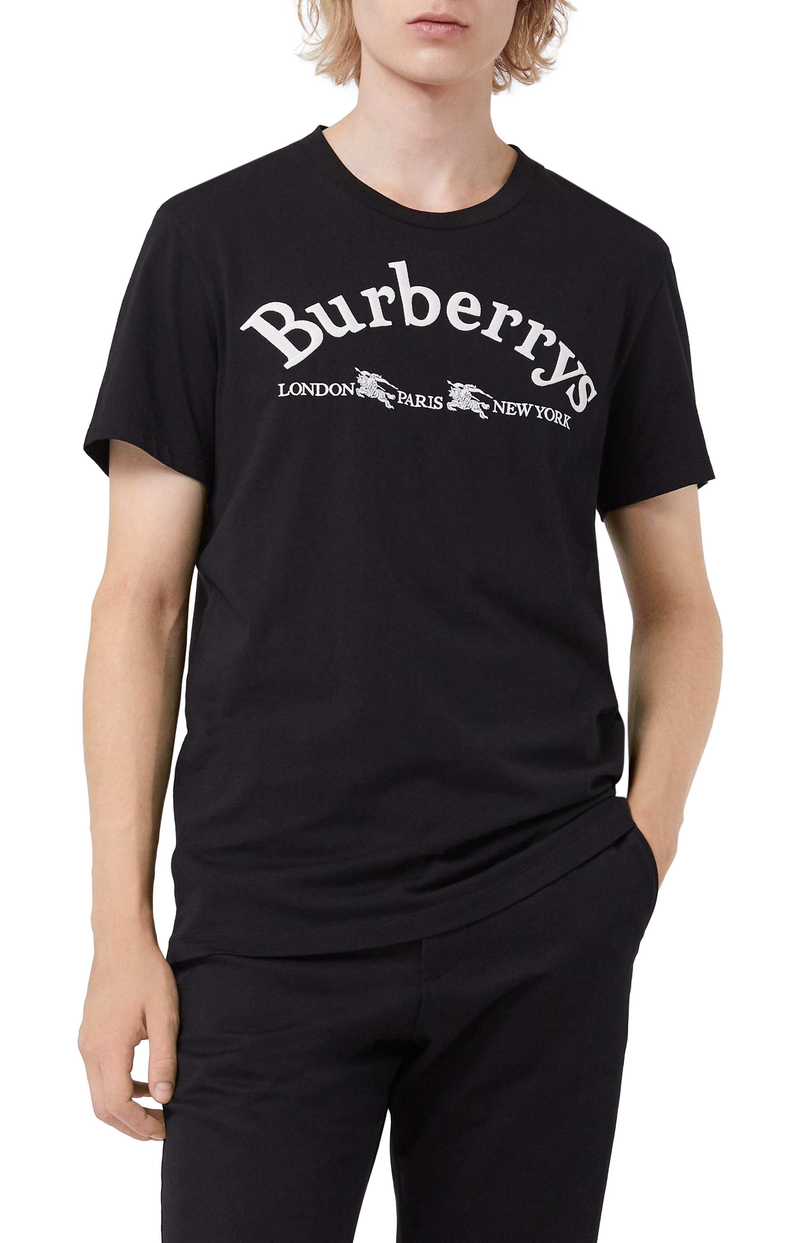 Paris Logo T-Shirt,                         Main,                         color, BLACK