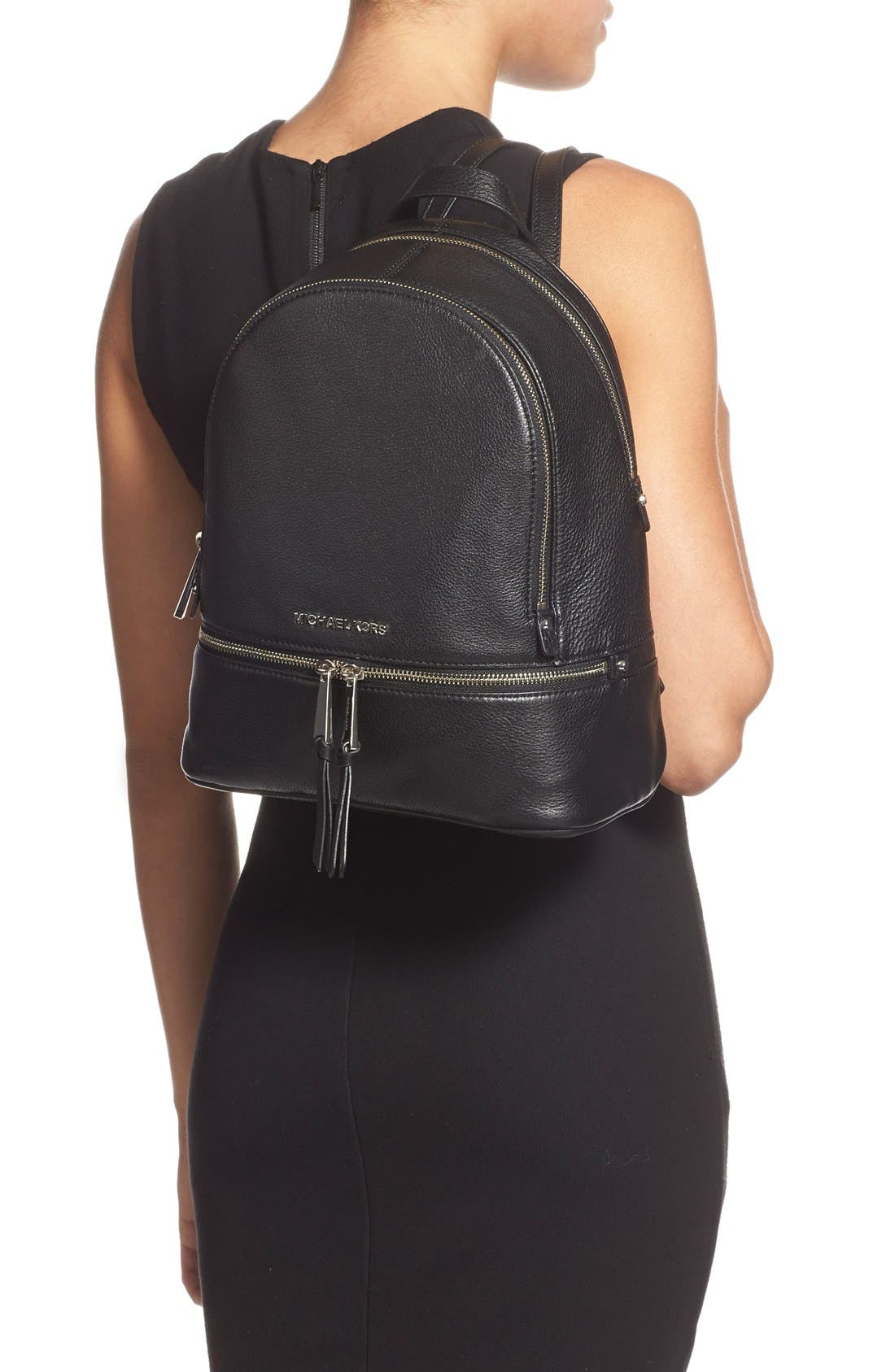 'Small Rhea Zip' Leather Backpack,                             Alternate thumbnail 5, color,                             001
