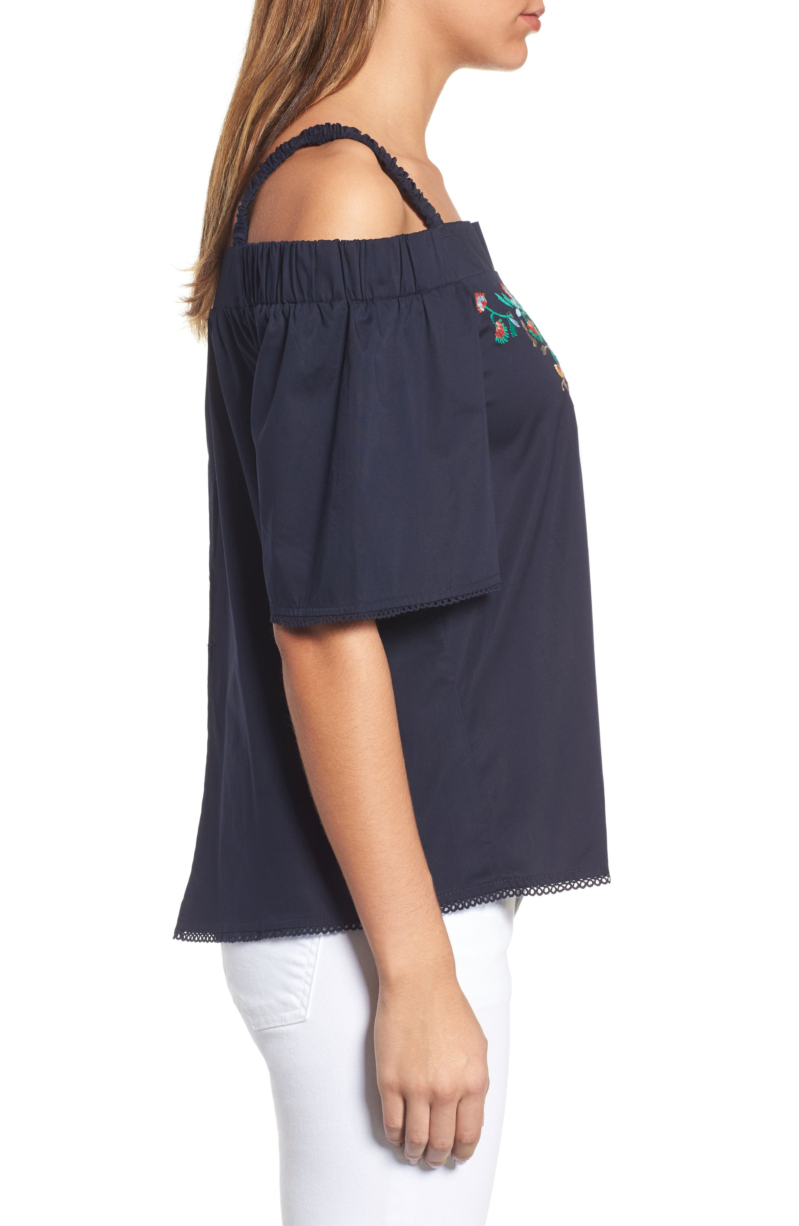 Embroidered Off the Shoulder Top,                             Alternate thumbnail 3, color,                             490