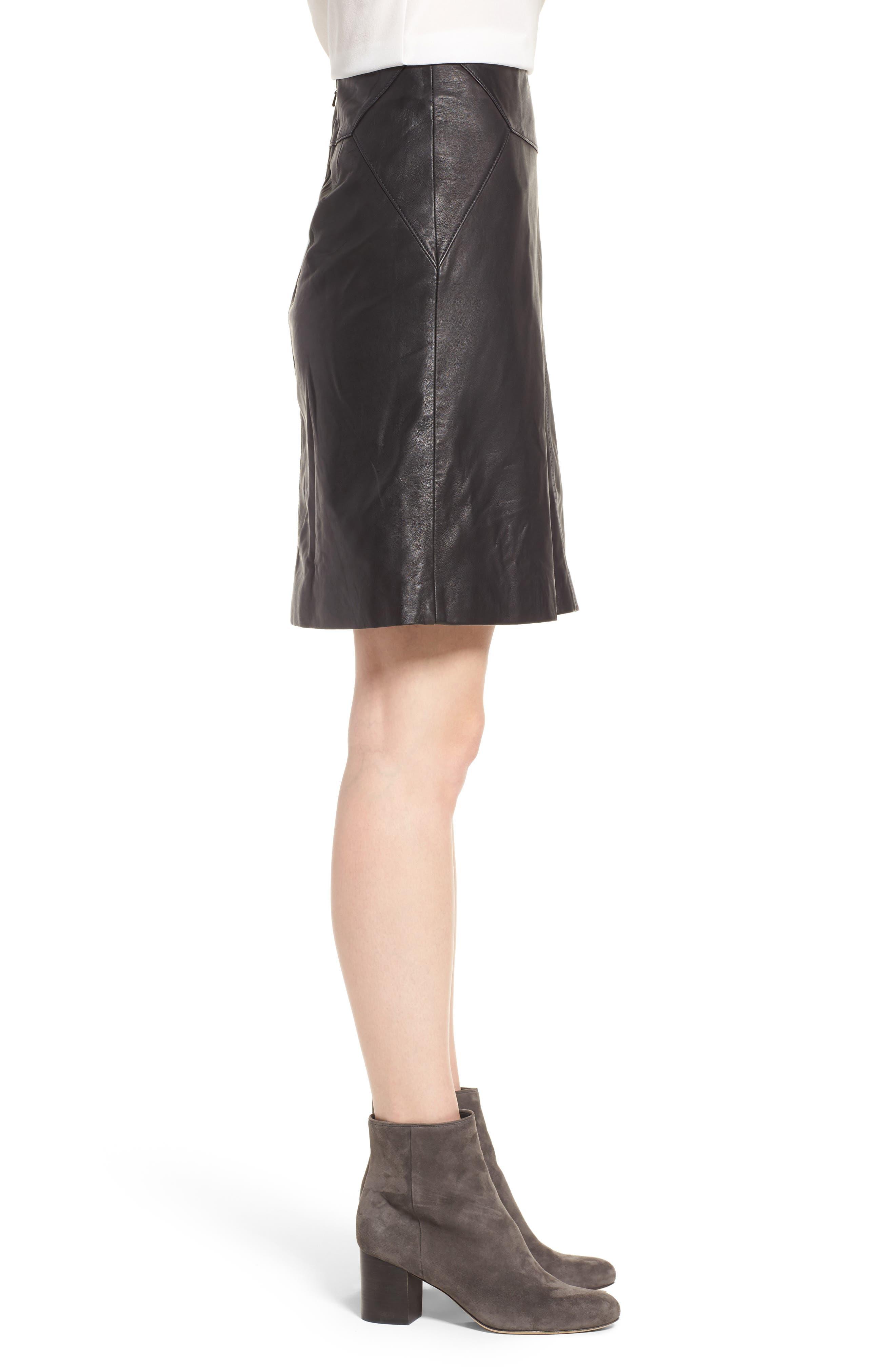 Leather Skirt,                             Alternate thumbnail 3, color,                             001