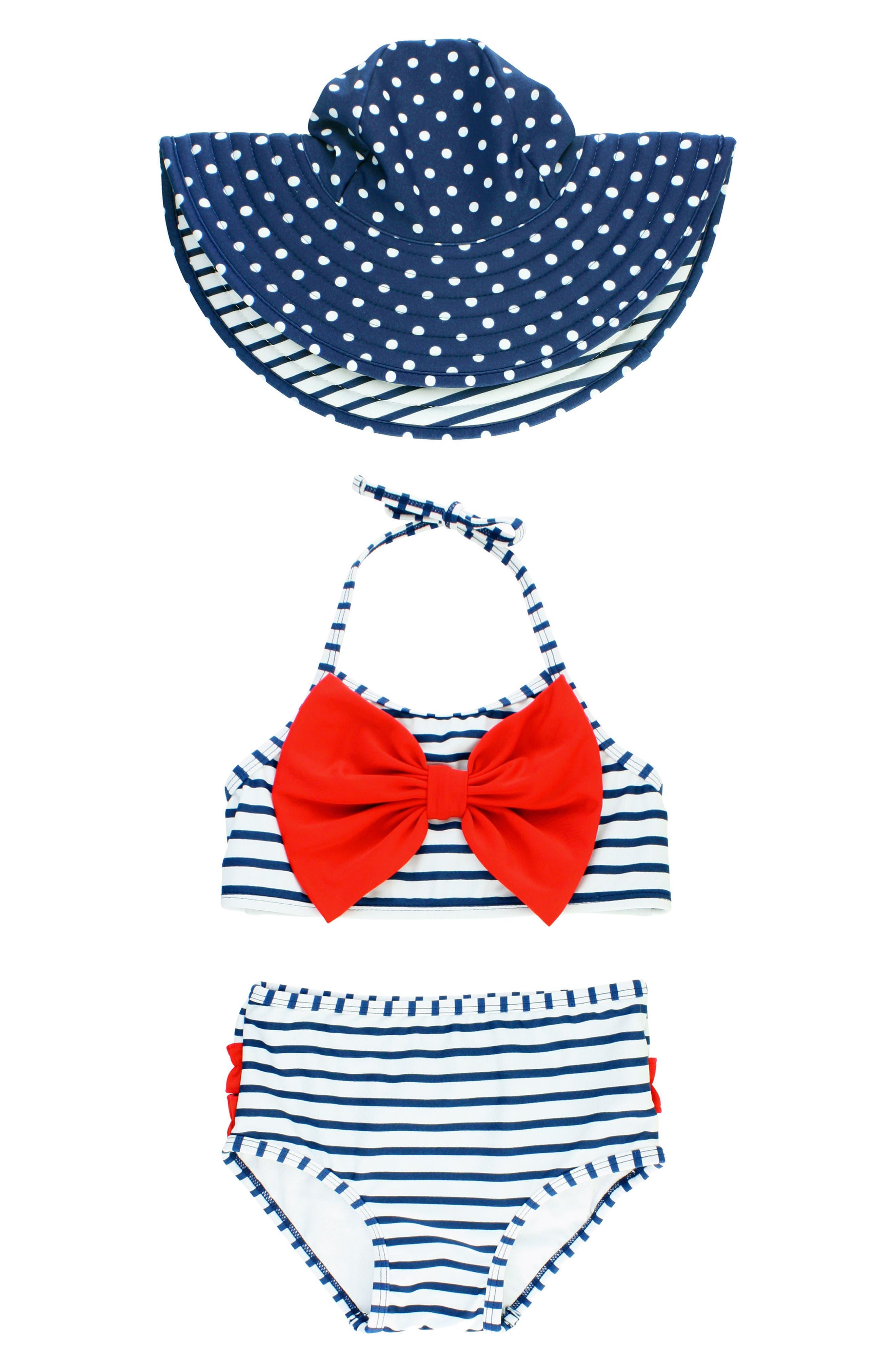 Stripe Two-Piece Swimsuit & Reversible Sun Hat Set,                             Main thumbnail 1, color,                             NAVY