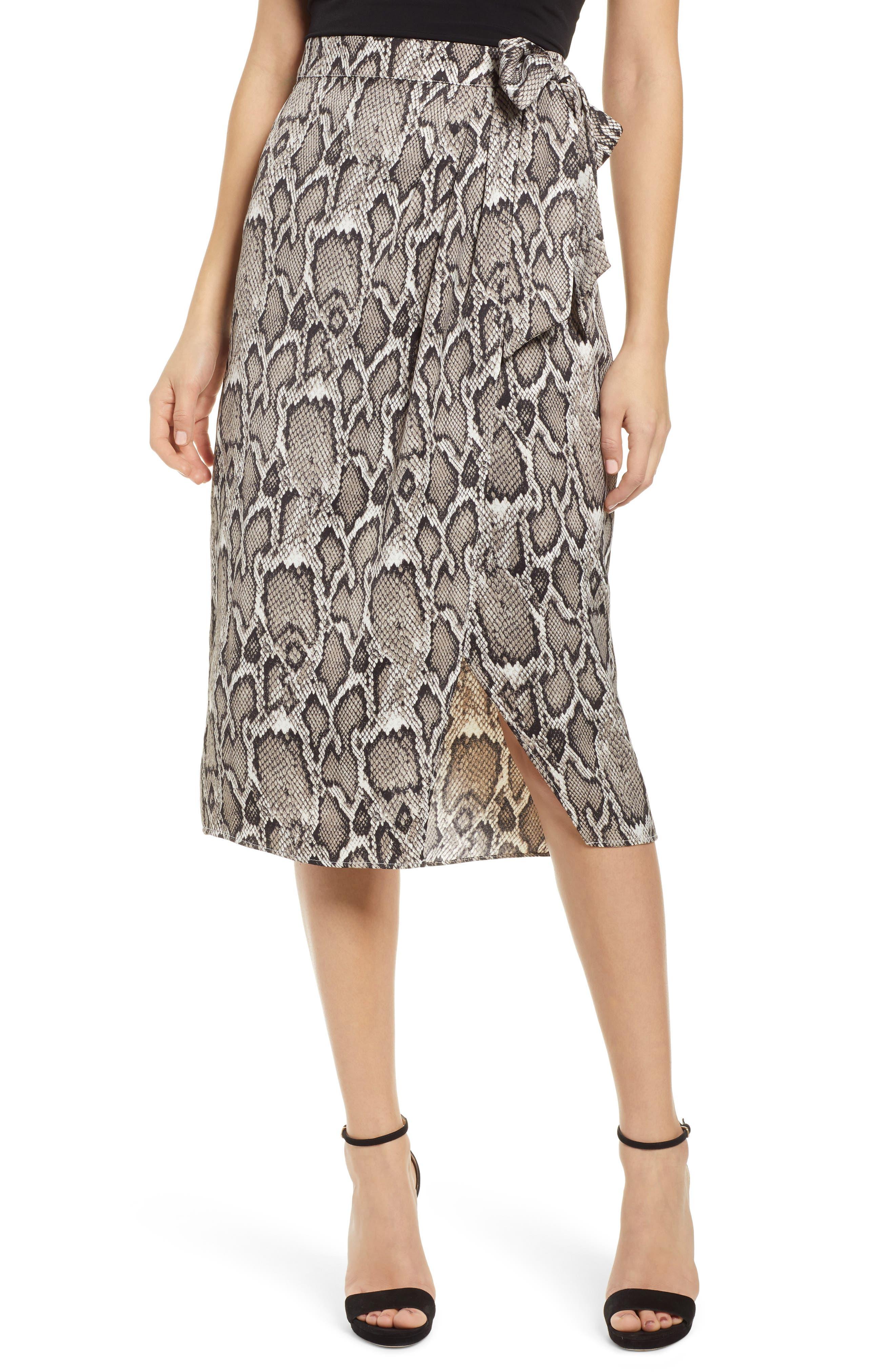 Afrm Savvy Snakeskin Print Wrap Skirt, Beige