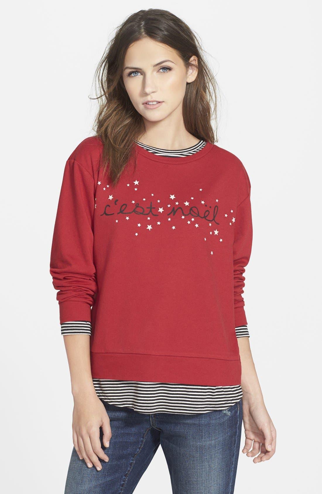 'C'est Noël' Sweatshirt,                             Main thumbnail 1, color,                             600