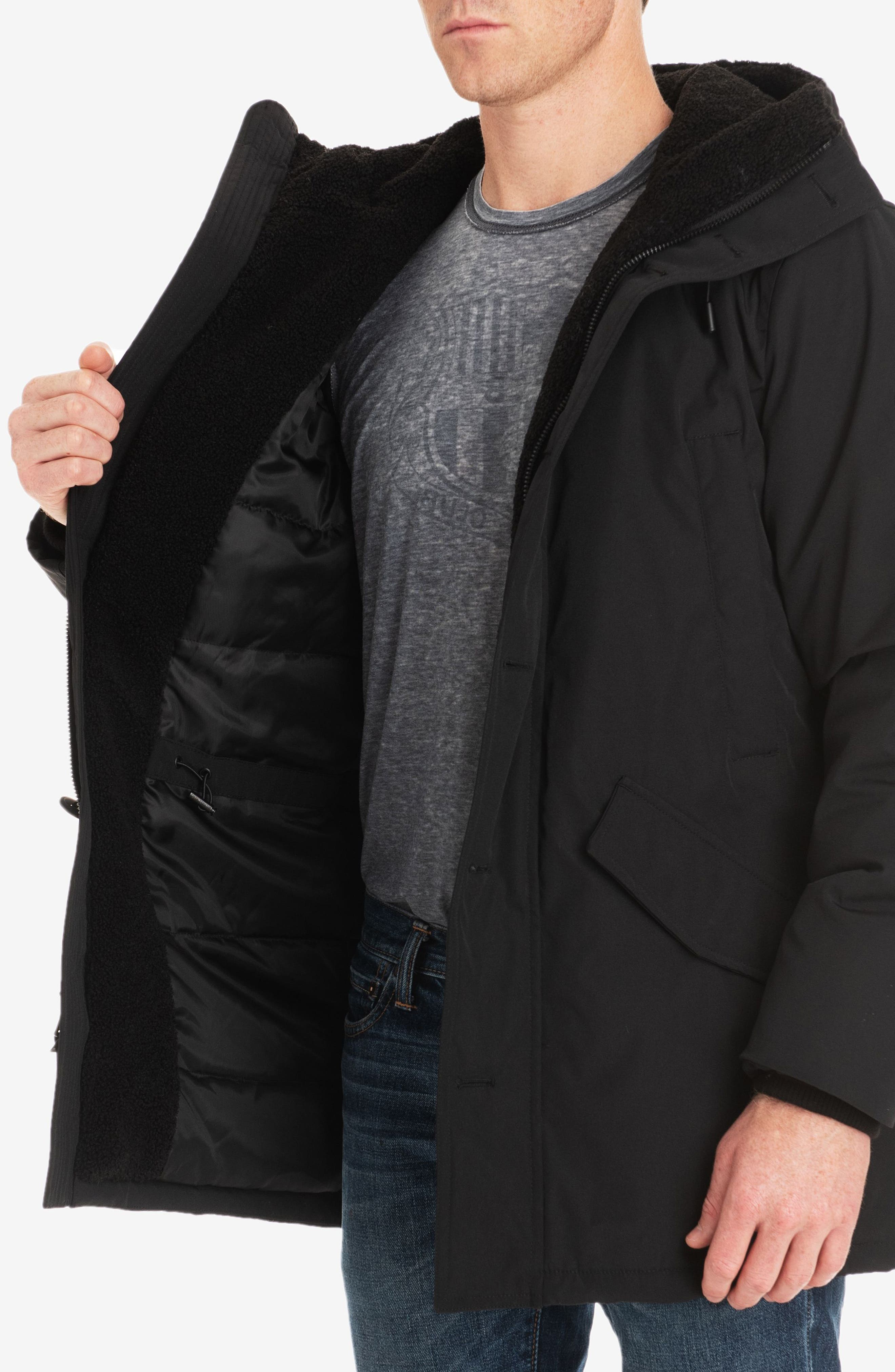 Lafayette Water Resistant Coat with Faux Shearling Lining,                             Alternate thumbnail 4, color,                             BLACK