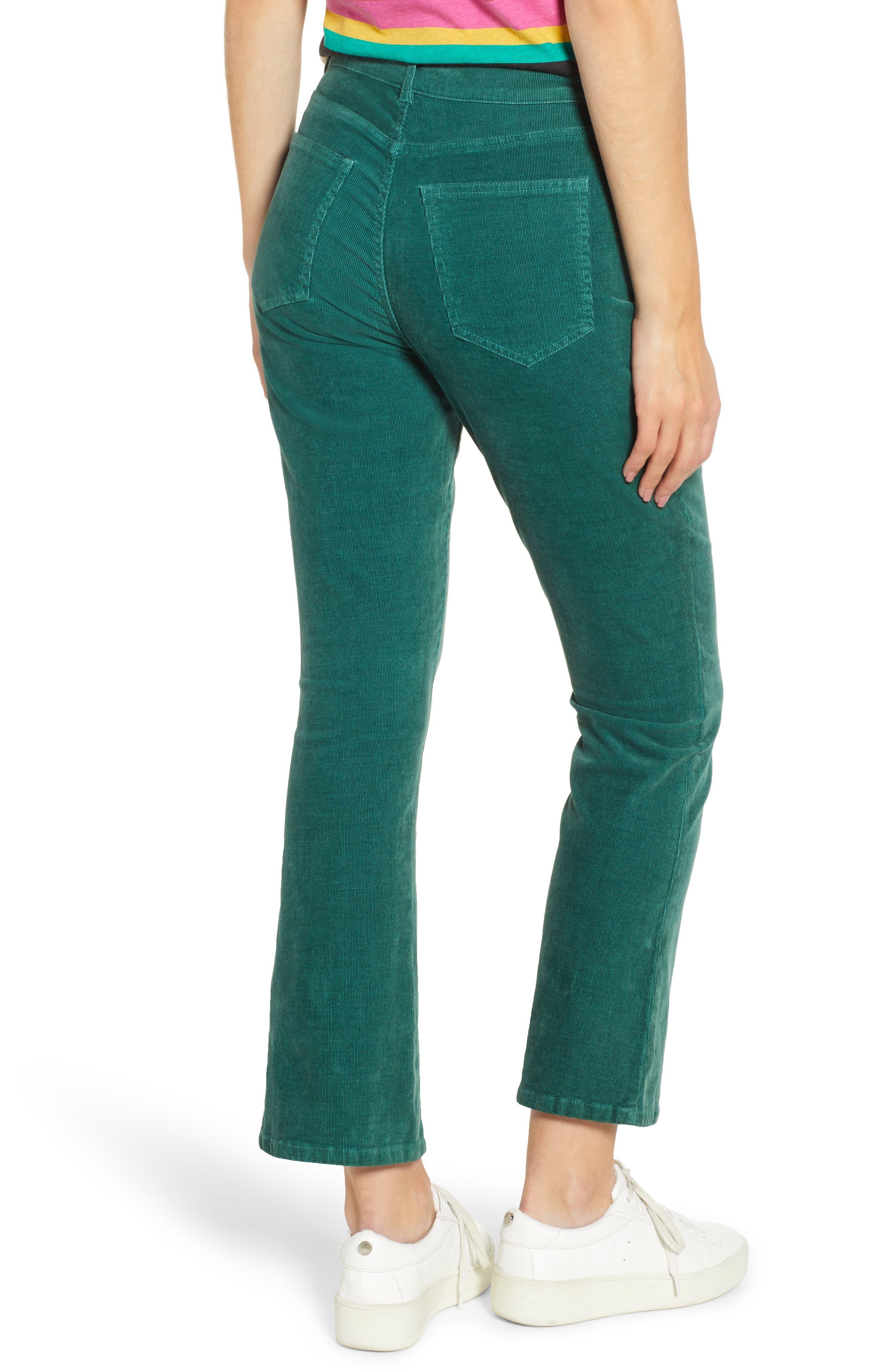 Crop Flare Pants,                             Alternate thumbnail 2, color,                             EMERALD