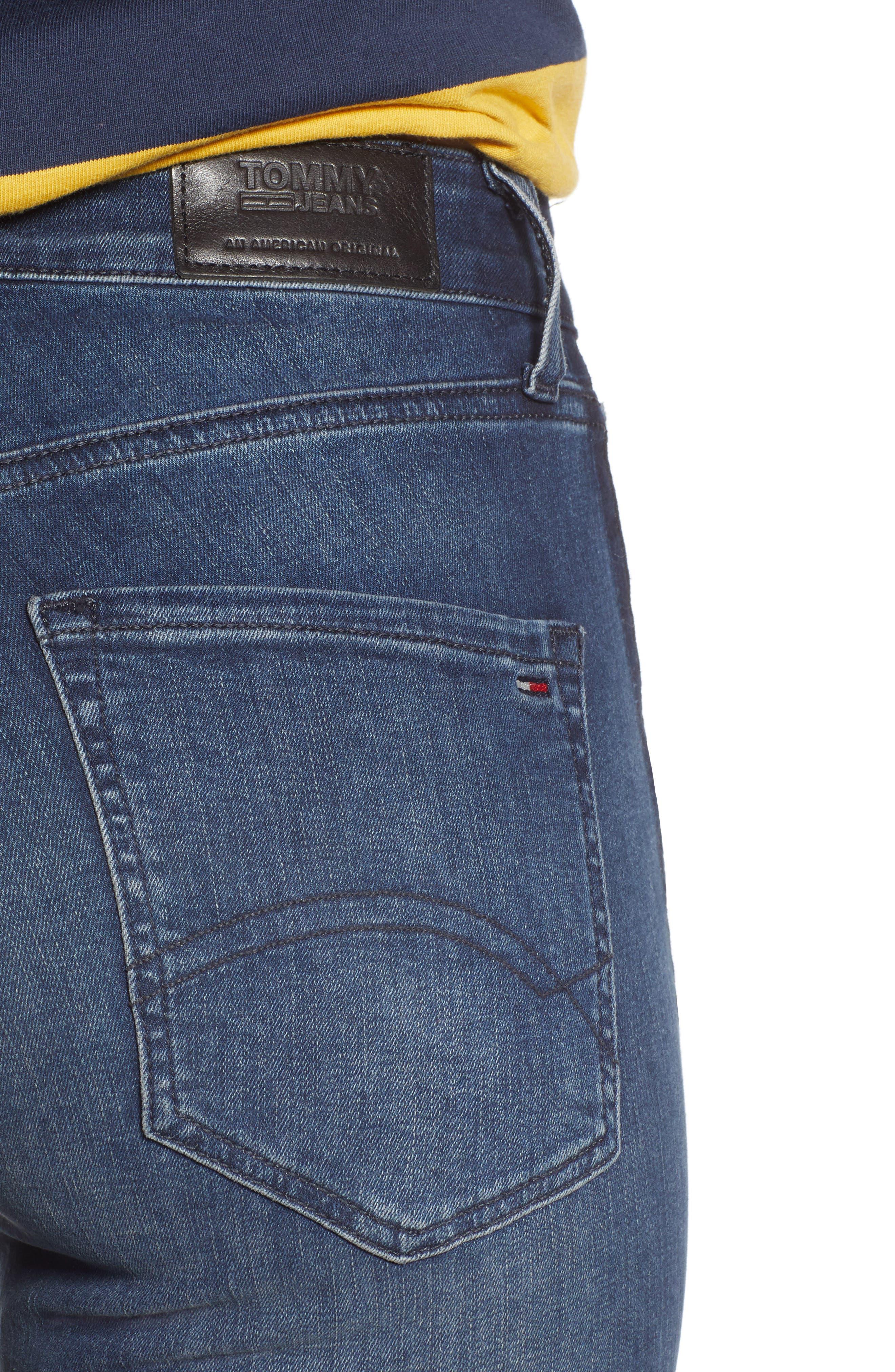 Santana High Waist Skinny Jeans,                             Alternate thumbnail 4, color,                             NEDDLE DARK BLUE STRETCH