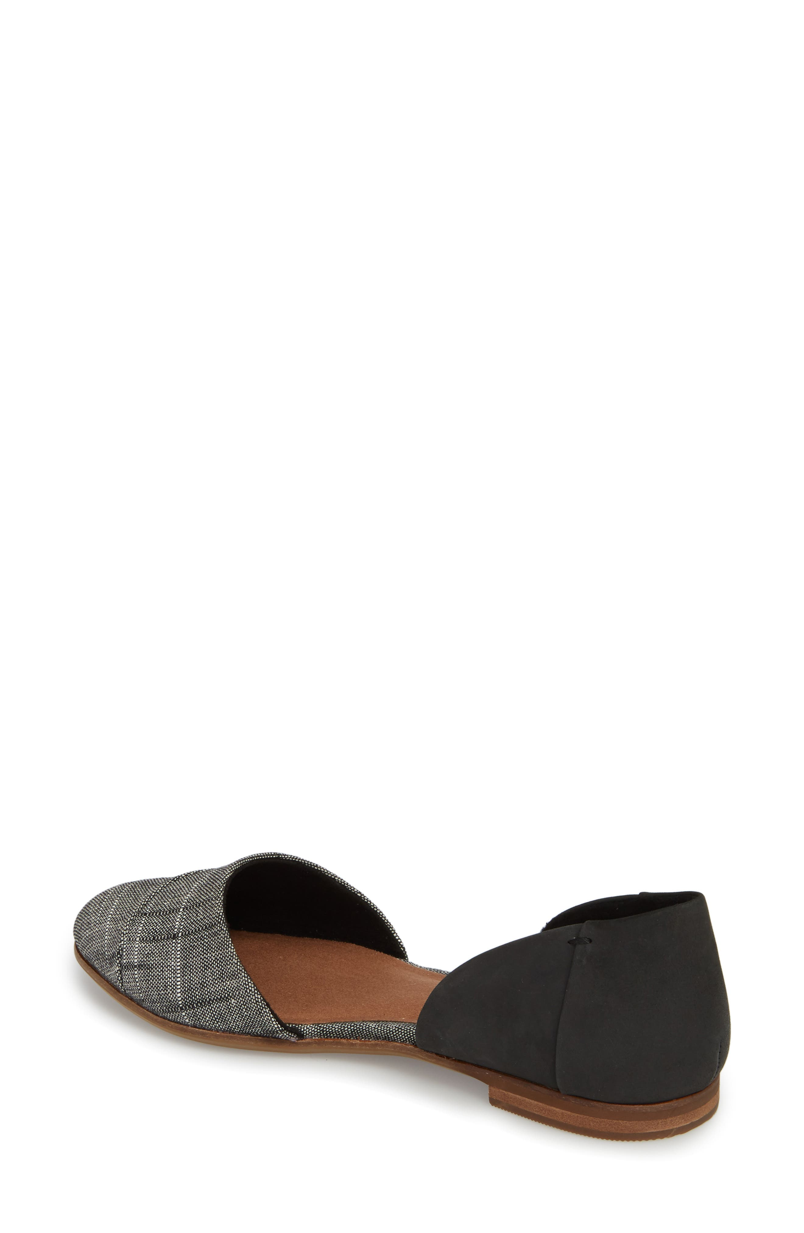 Jutti d'Orsay Flat,                             Alternate thumbnail 2, color,                             BLACK LEATHER/ CHAMBRAY