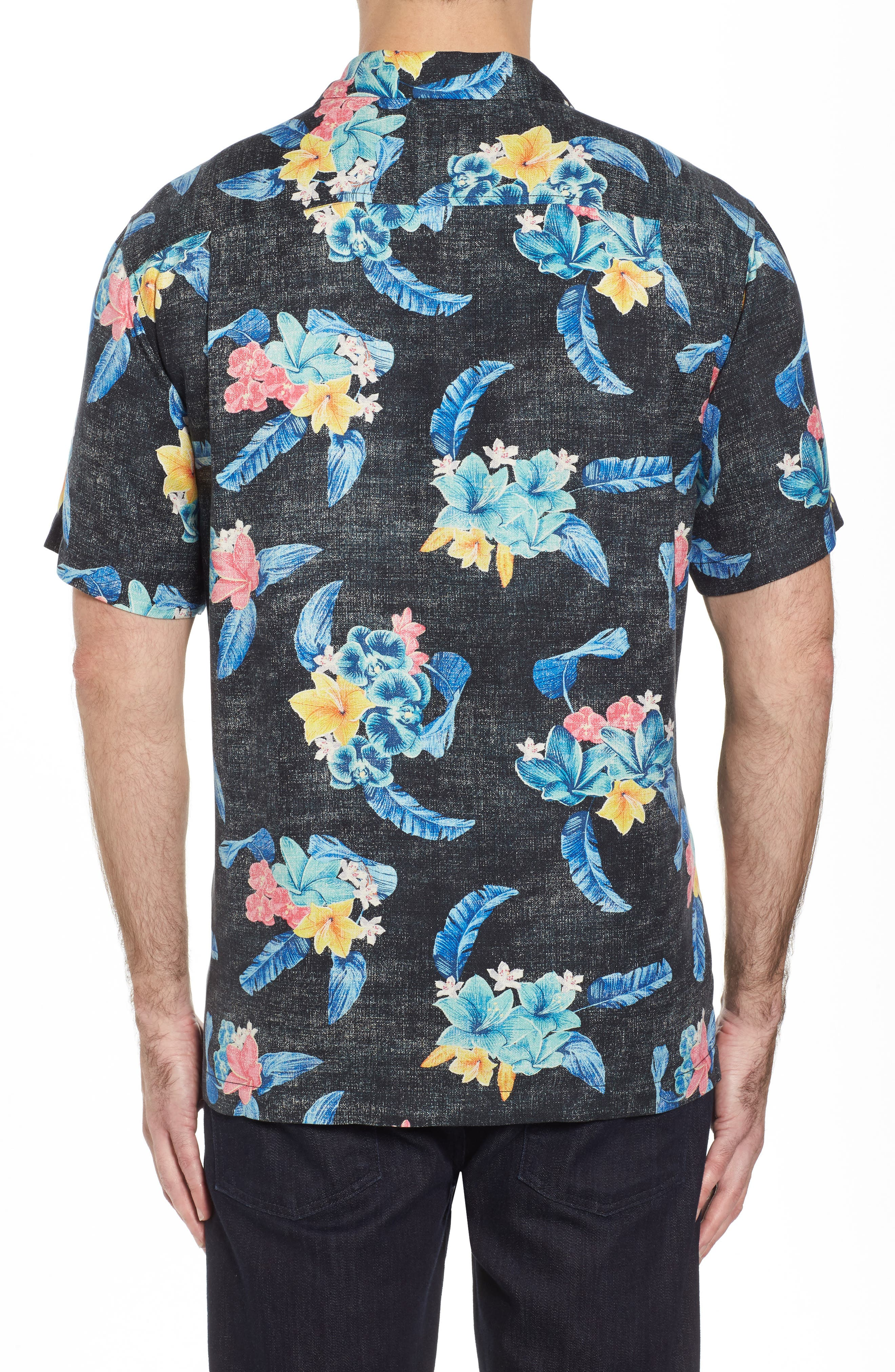 Salt Water Blooms Silk Sport Shirt,                             Alternate thumbnail 2, color,                             001