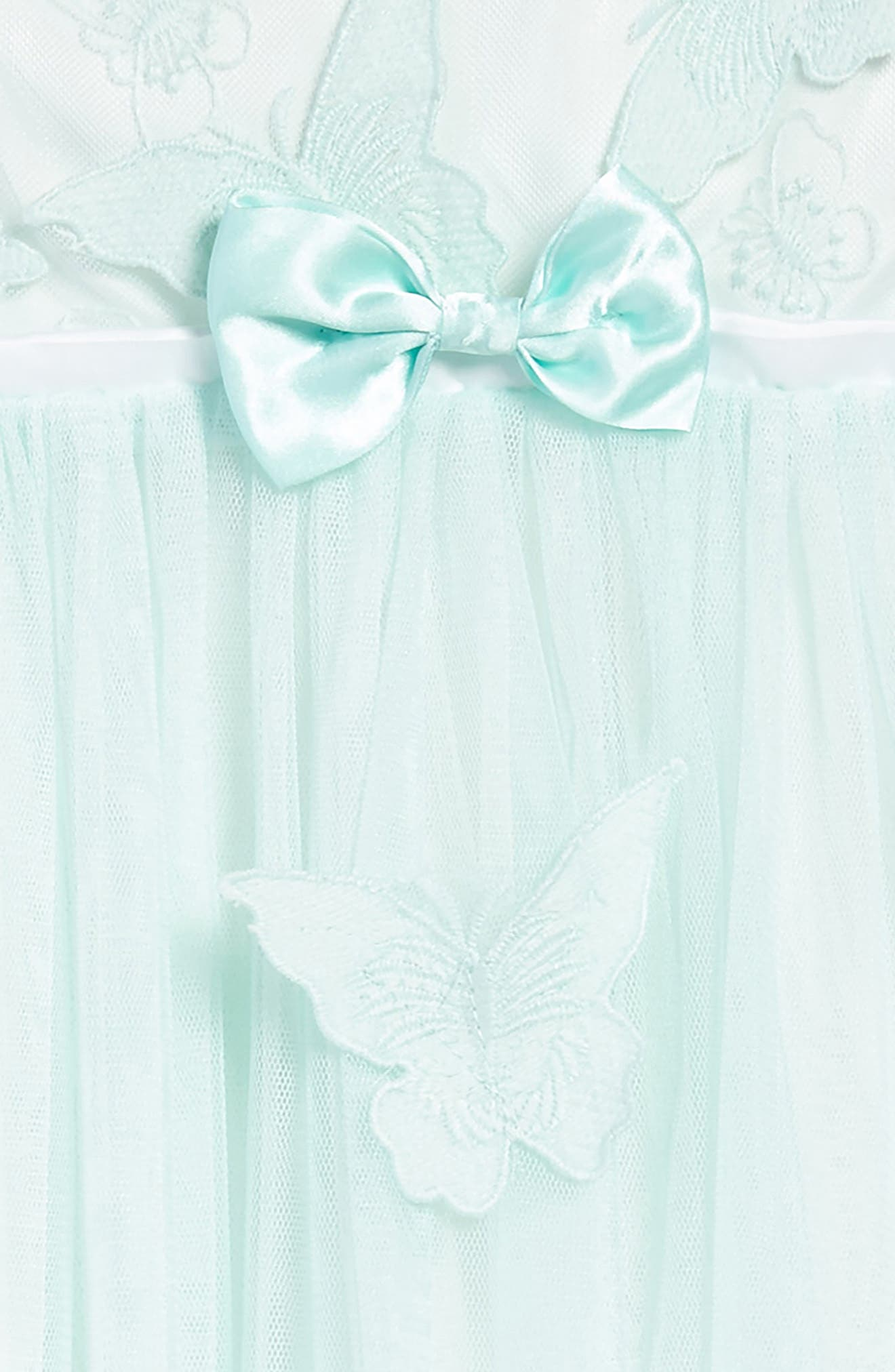 Butterfly Appliqué Tulle Dress,                             Alternate thumbnail 3, color,                             MINT