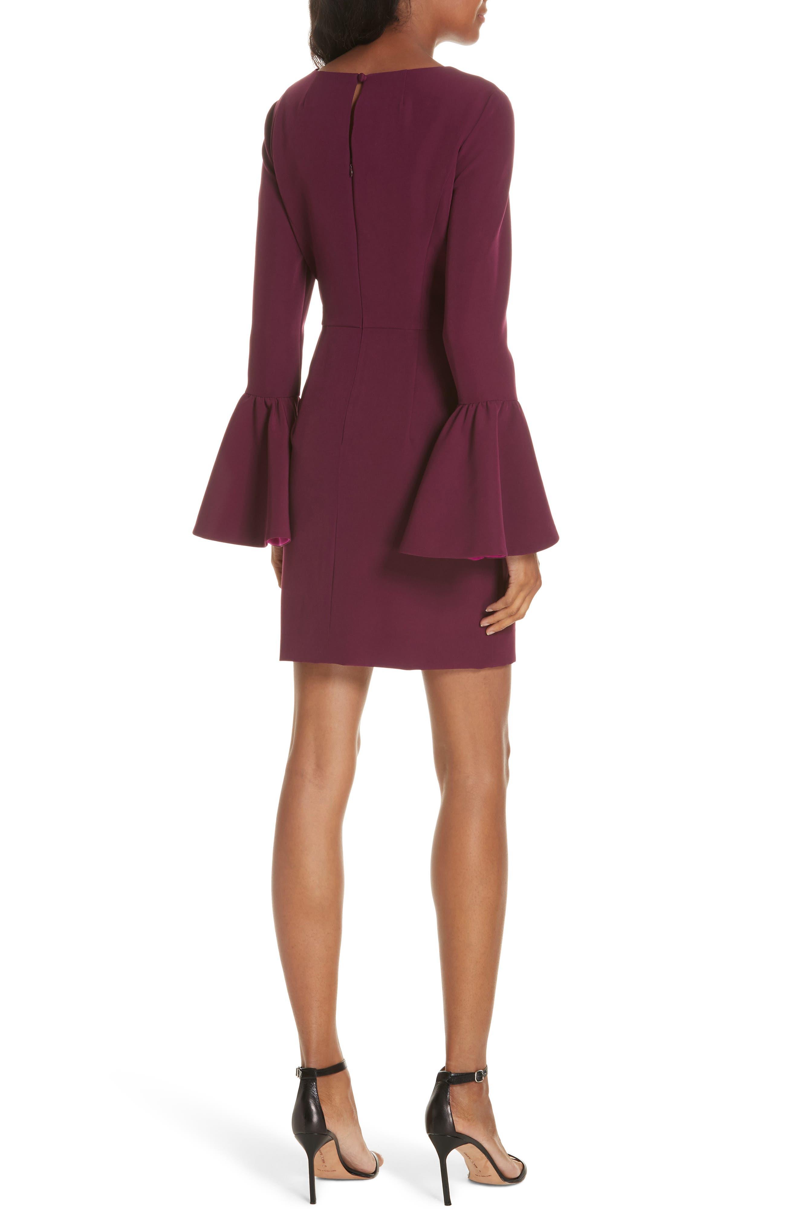 Morgan Italian Cady Bell Sleeve Mini Dress,                             Alternate thumbnail 2, color,                             500