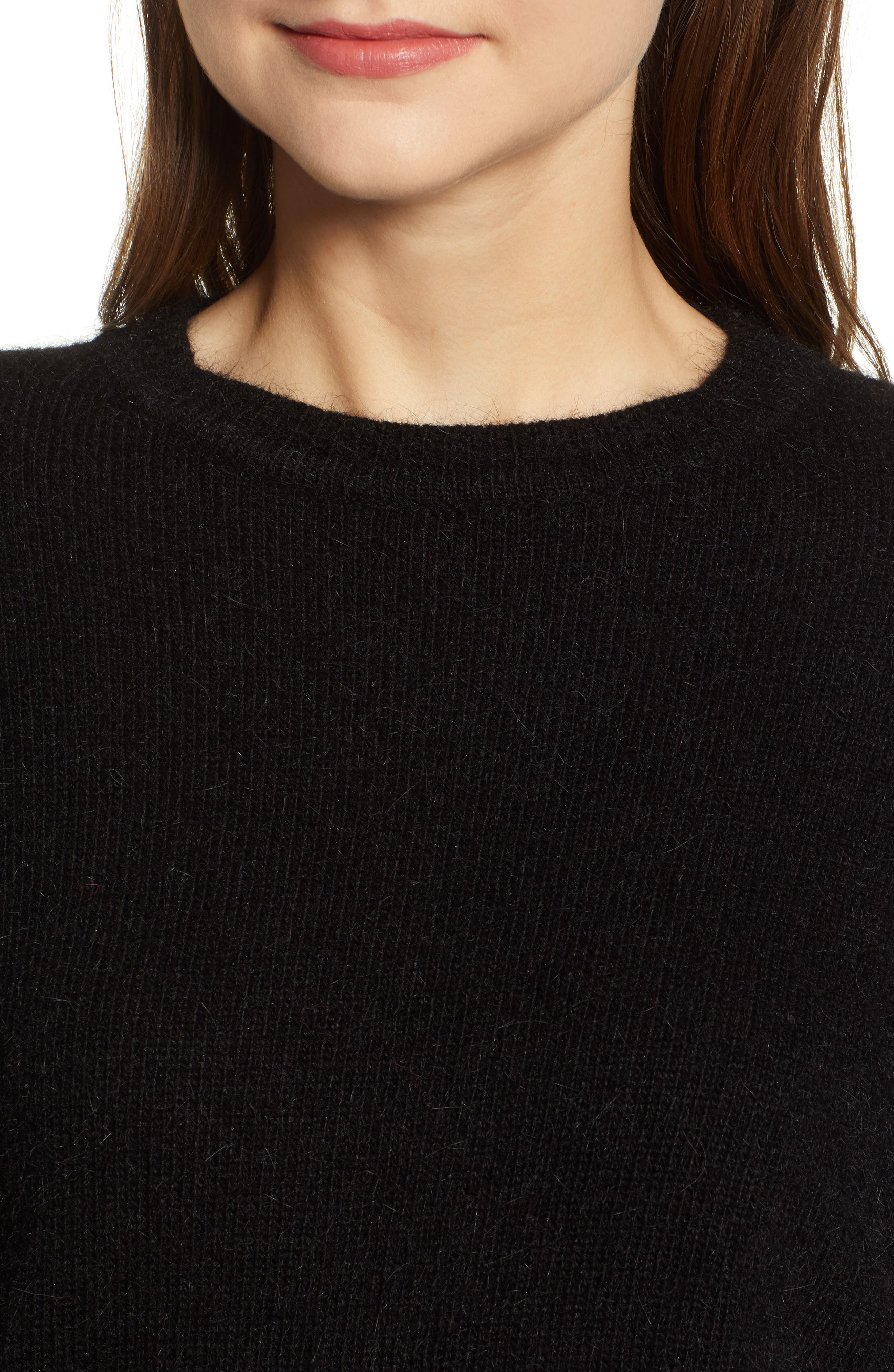 Blouson Sleeve Sweater,                             Alternate thumbnail 4, color,                             BLACK