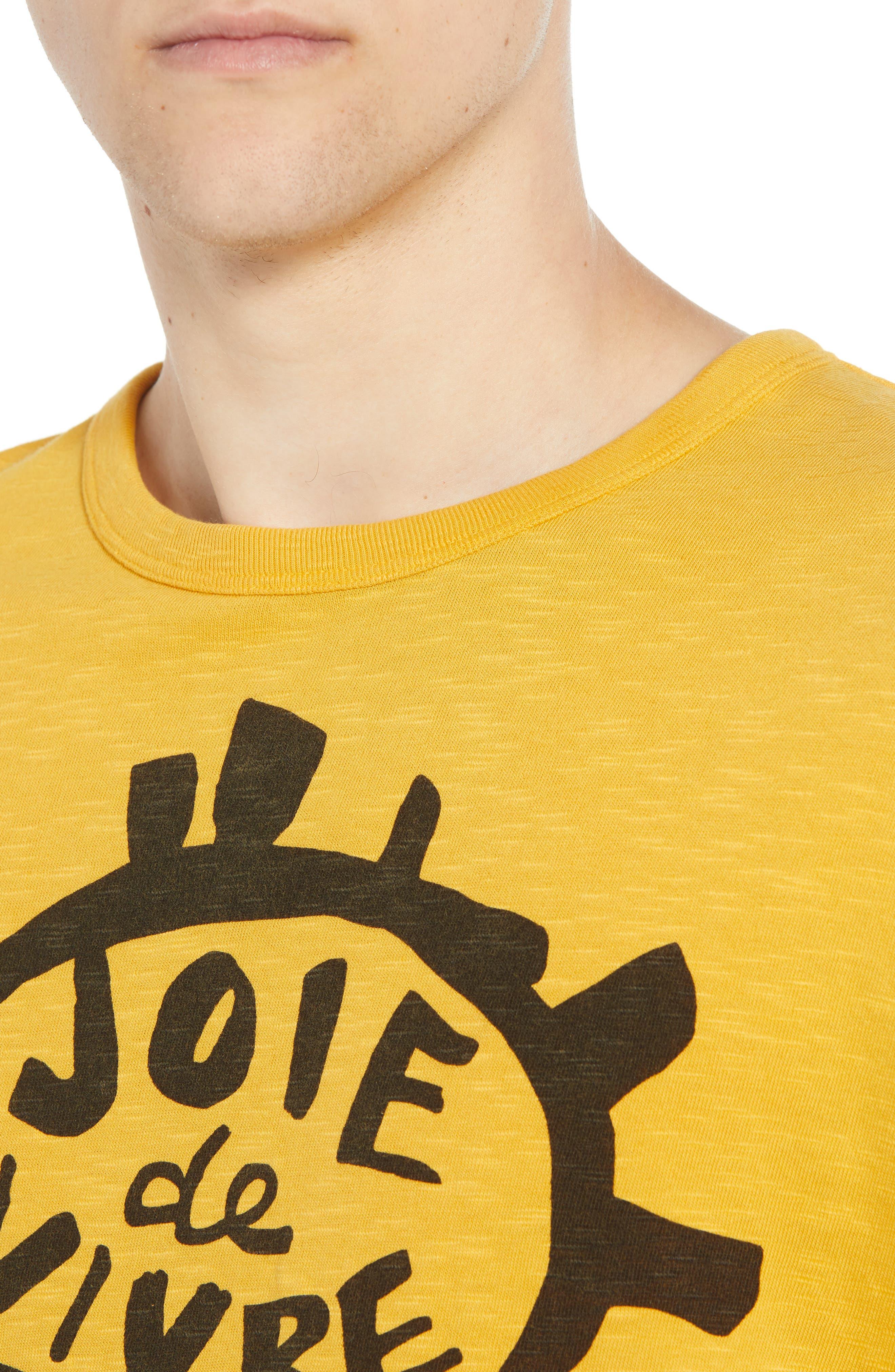 Joy of Living Slubbed T-Shirt,                             Alternate thumbnail 4, color,                             CALLUNA YELLOW BLACK