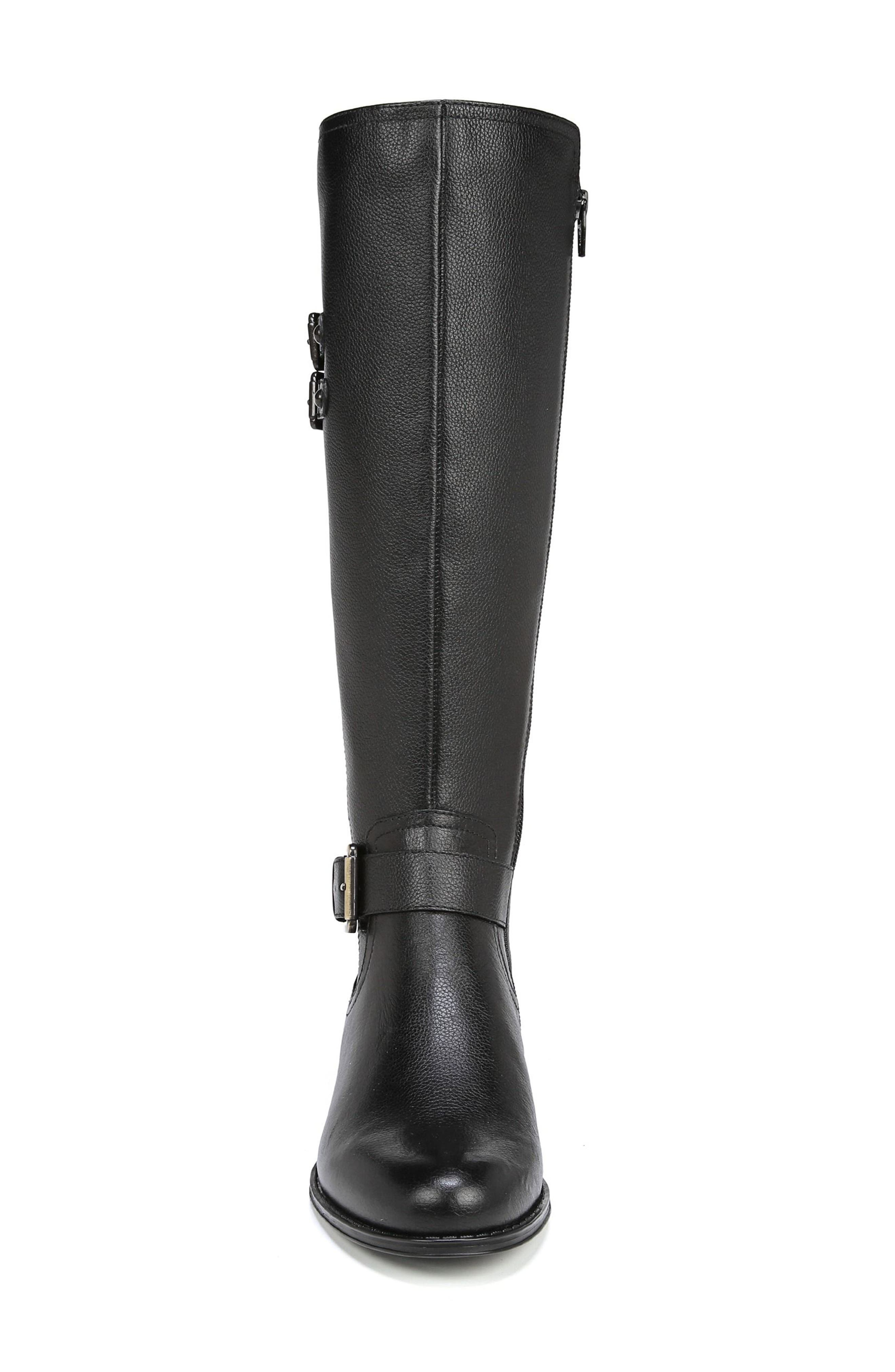 Jessie Knee High Riding Boot,                             Alternate thumbnail 4, color,                             BLACK LEATHER