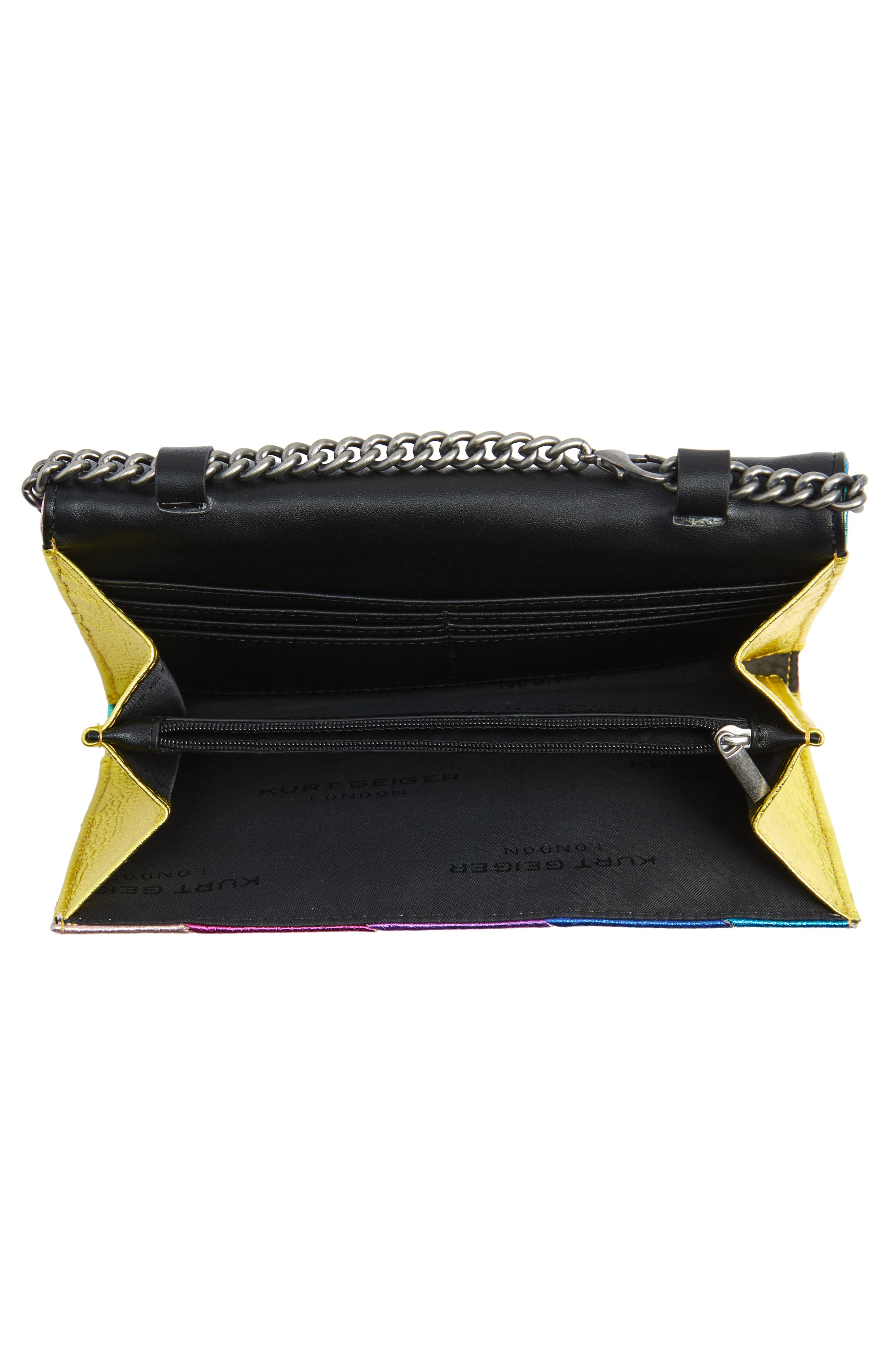 Stripe Leather Chain Wallet,                             Alternate thumbnail 4, color,                             MULTI/ OTHER