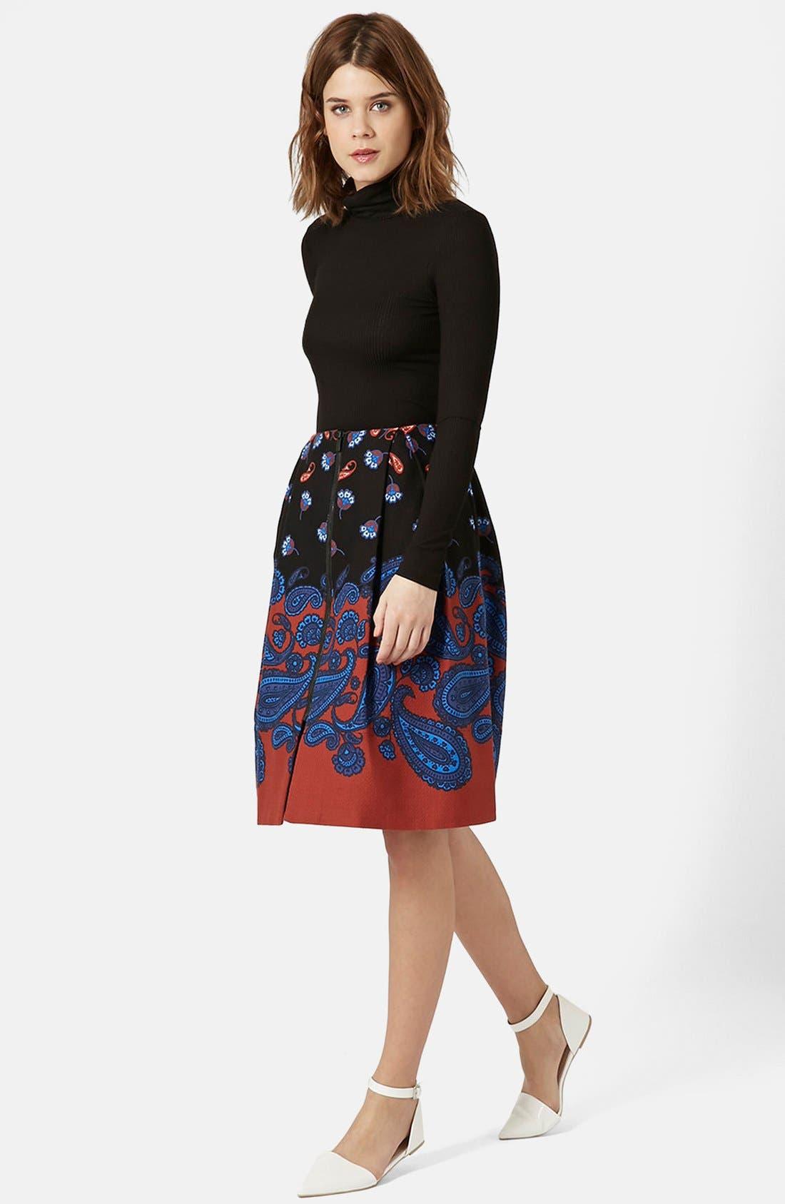 TOPSHOP,                             Paisley Midi Skirt,                             Alternate thumbnail 4, color,                             001