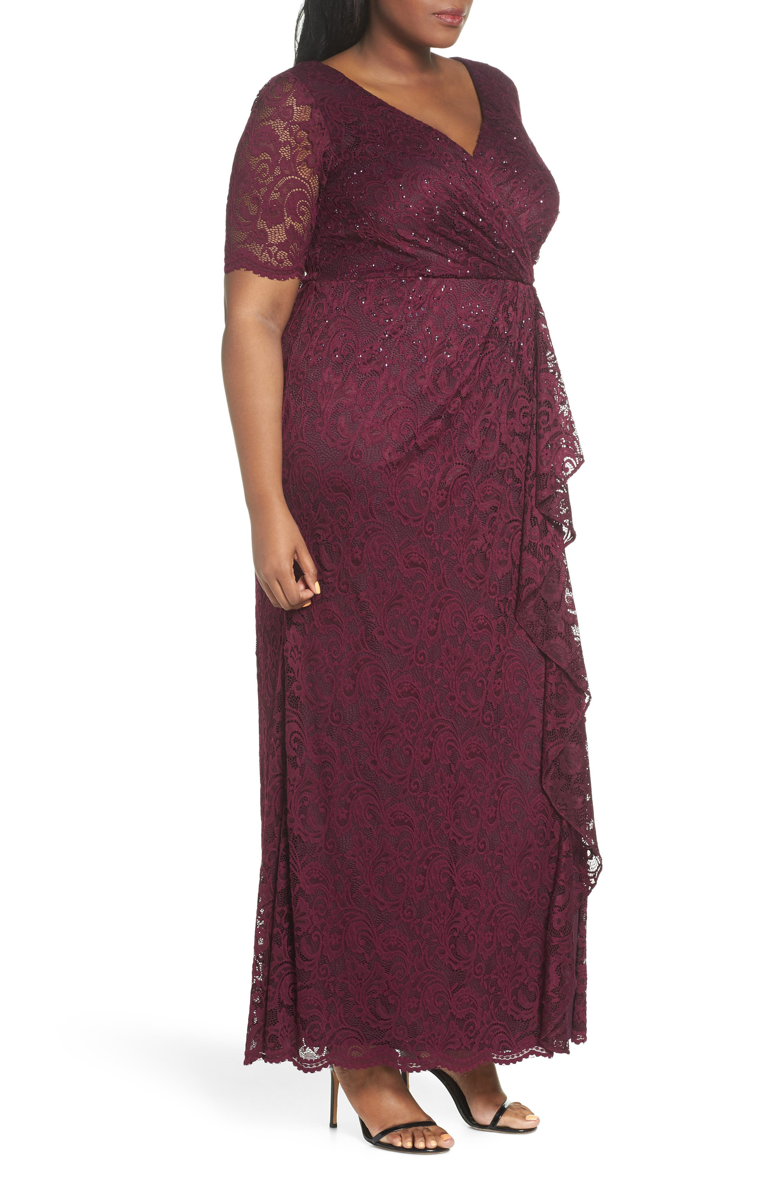 Cascade Ruffle Sequin Lace Gown,                             Alternate thumbnail 3, color,                             600