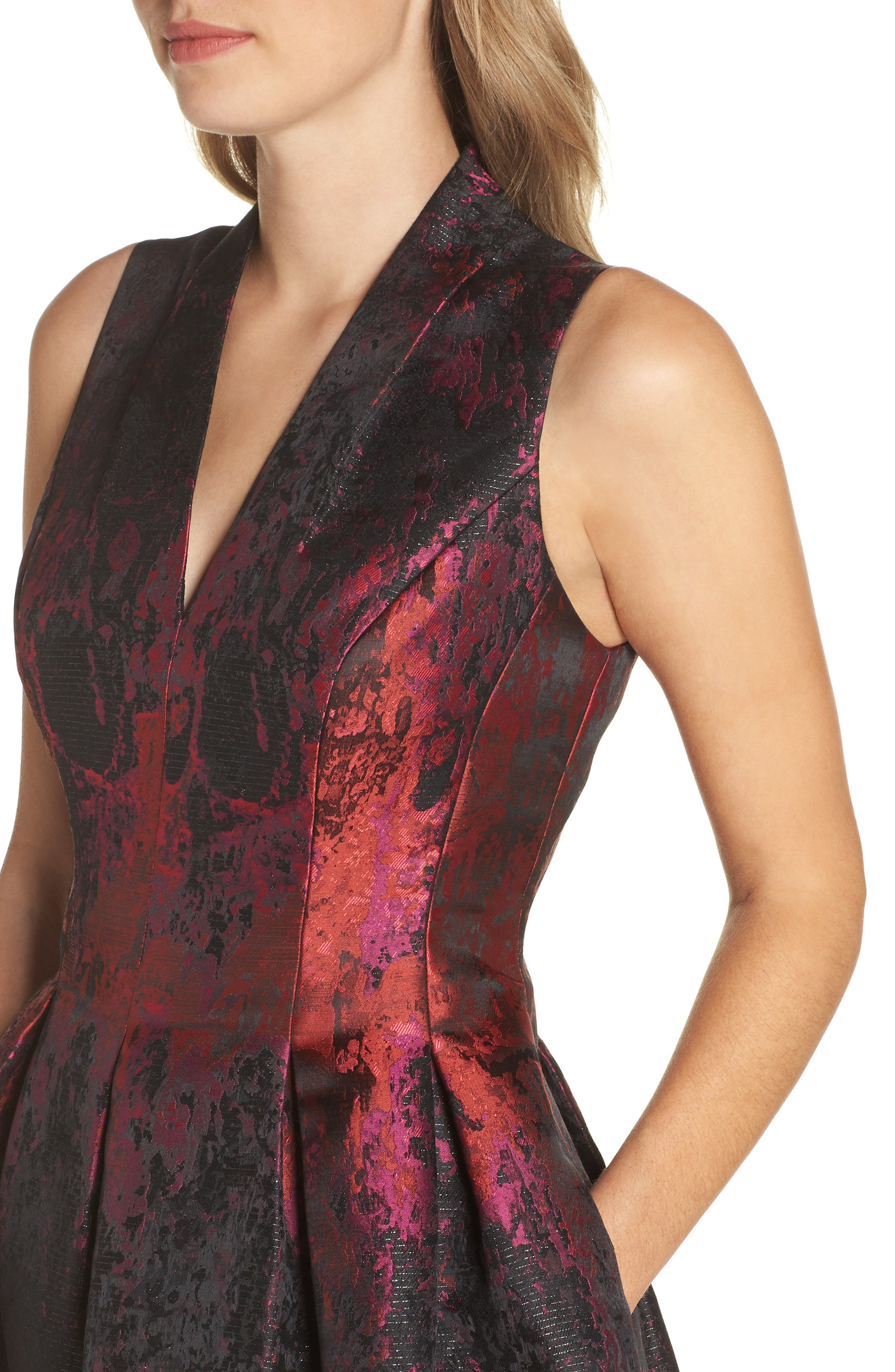 Jacquard Fit & Flare Dress,                             Alternate thumbnail 4, color,                             PINK MULTI