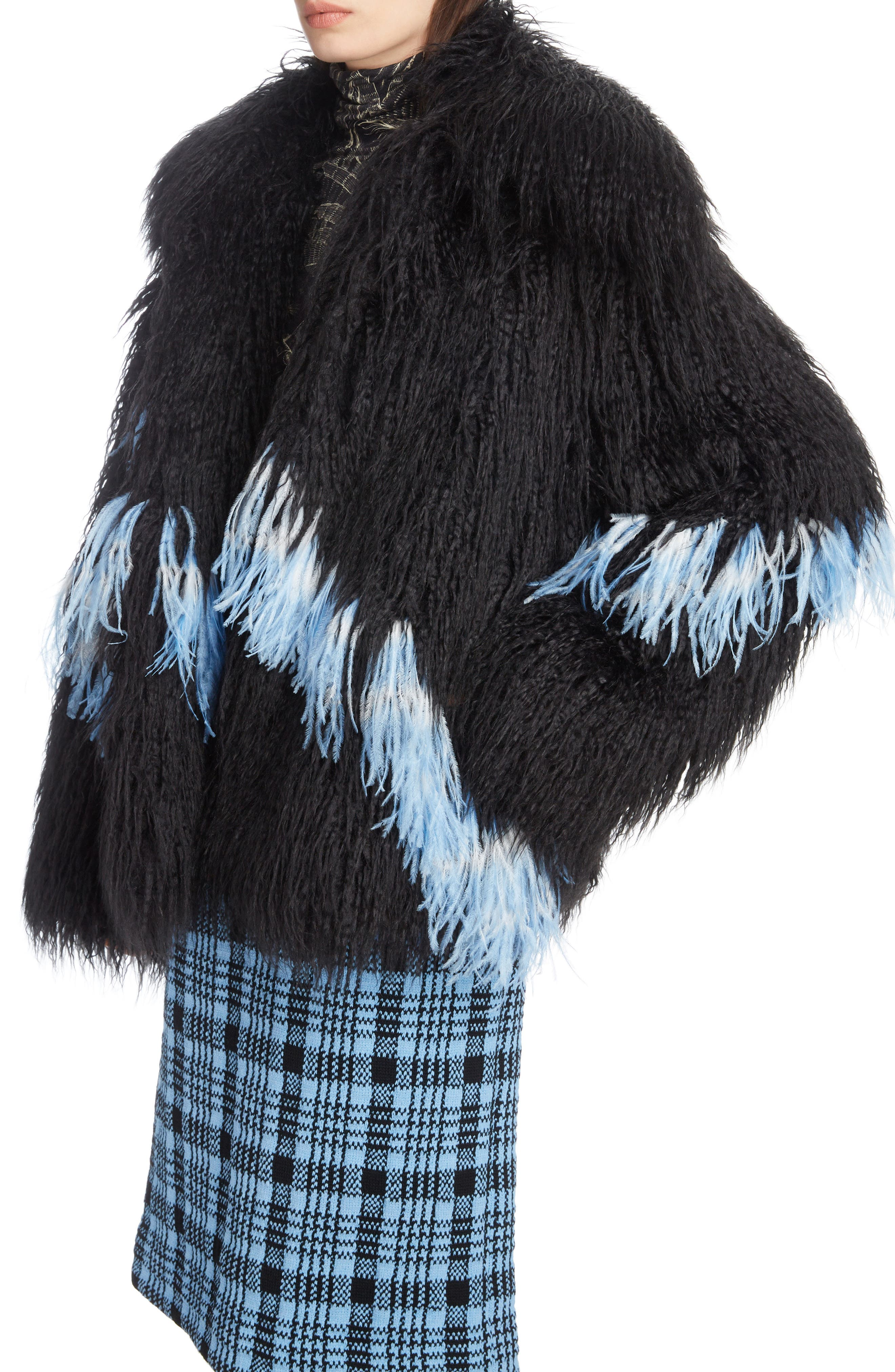 Feather Trim Faux Fur Jacket,                             Alternate thumbnail 4, color,                             BLACK