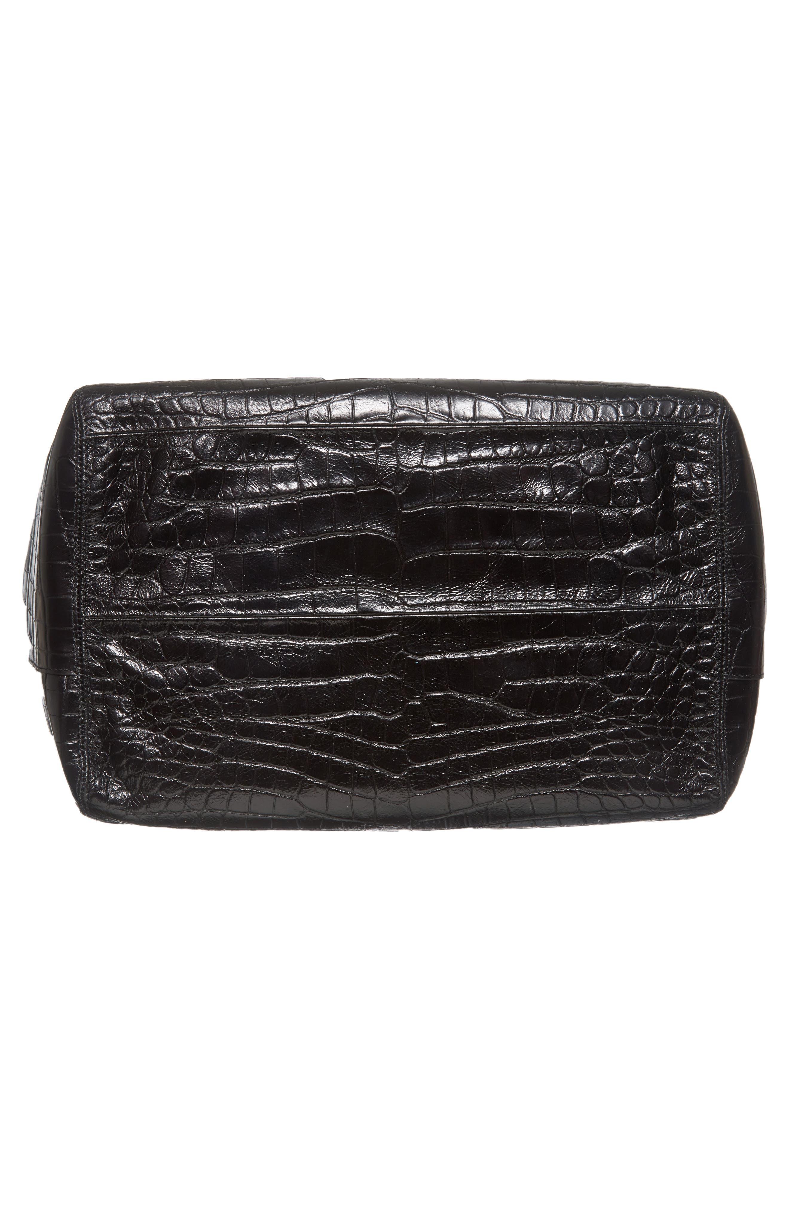 Mini Keely Newspaper Croc Embossed Leather Shoulder/Crossbody Bag,                             Alternate thumbnail 6, color,                             001