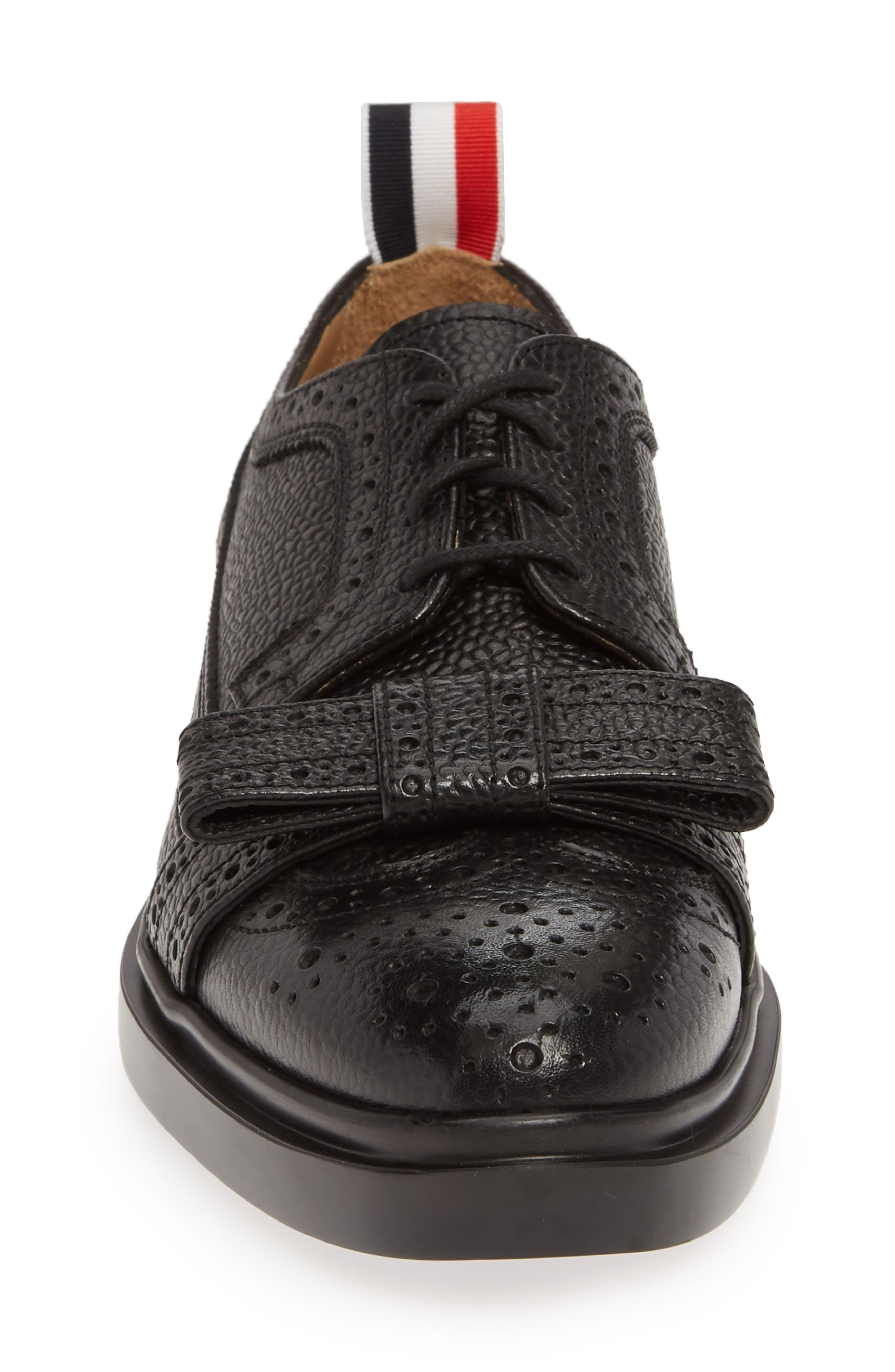 Bow Brogued Oxford,                             Alternate thumbnail 4, color,                             BLACK