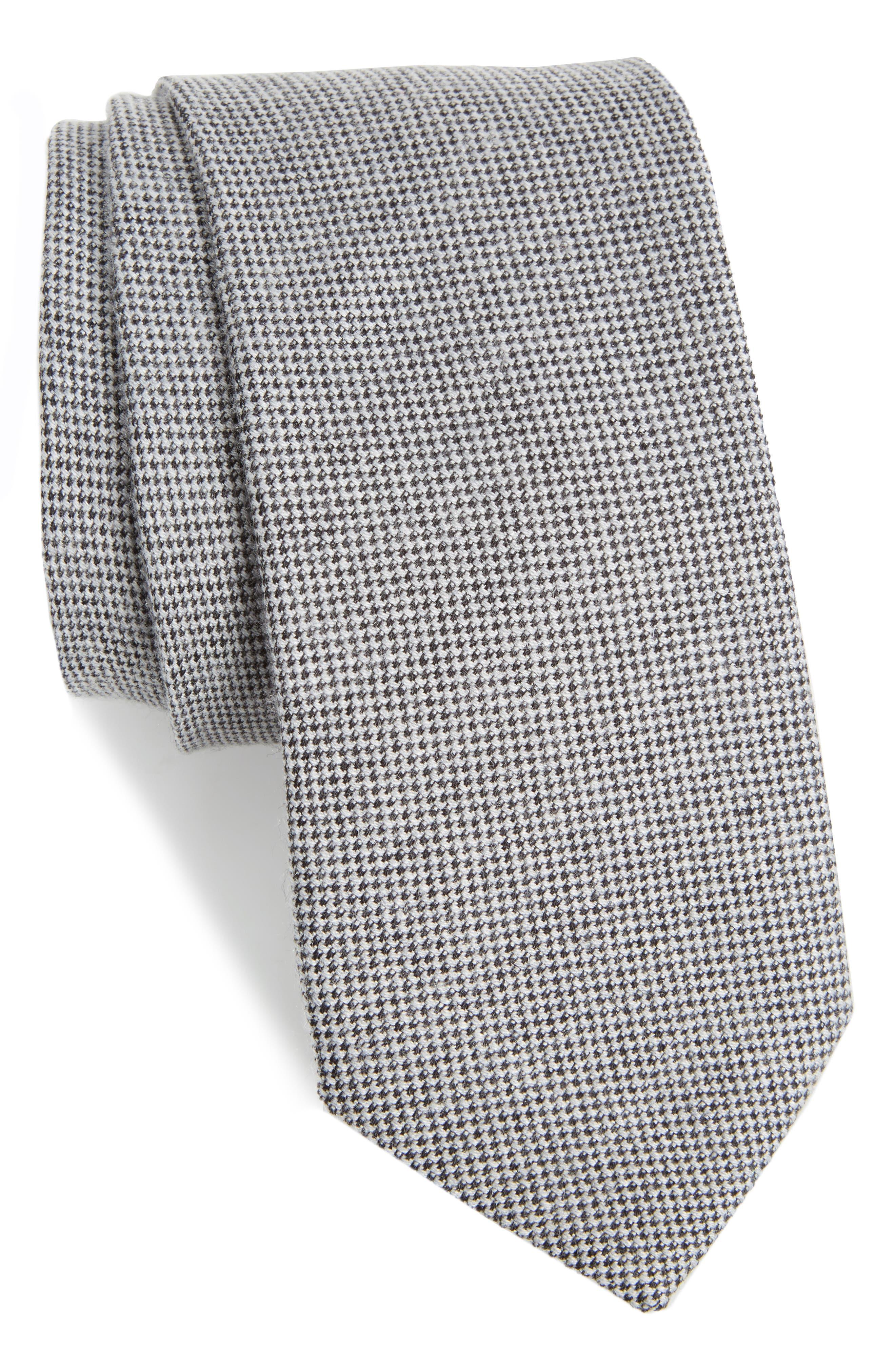 Small Bird's Eye Silk Blend Tie,                         Main,                         color, 001