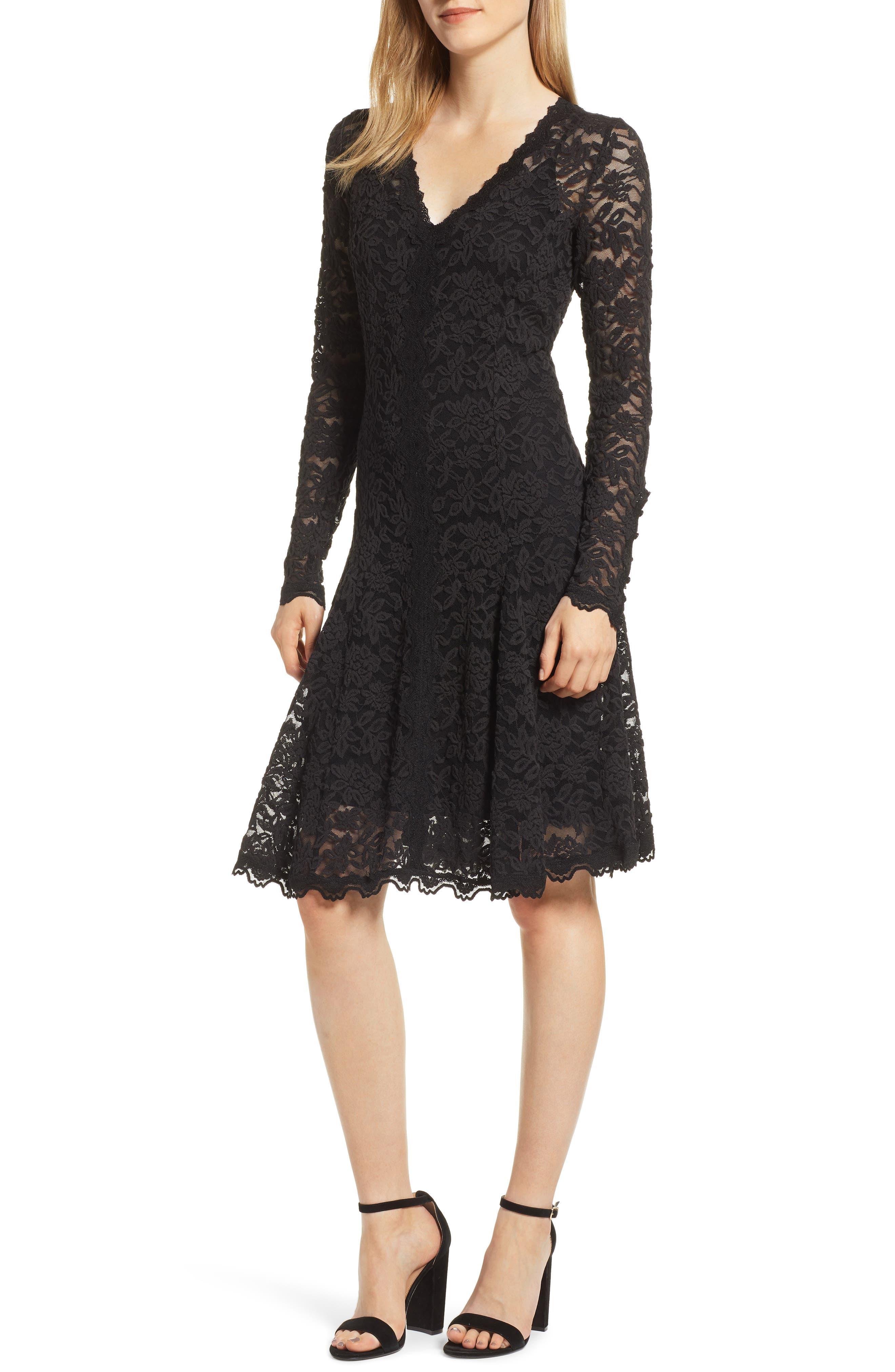 Delicia Fit & Flare Lace Dress, Main, color, BLACK