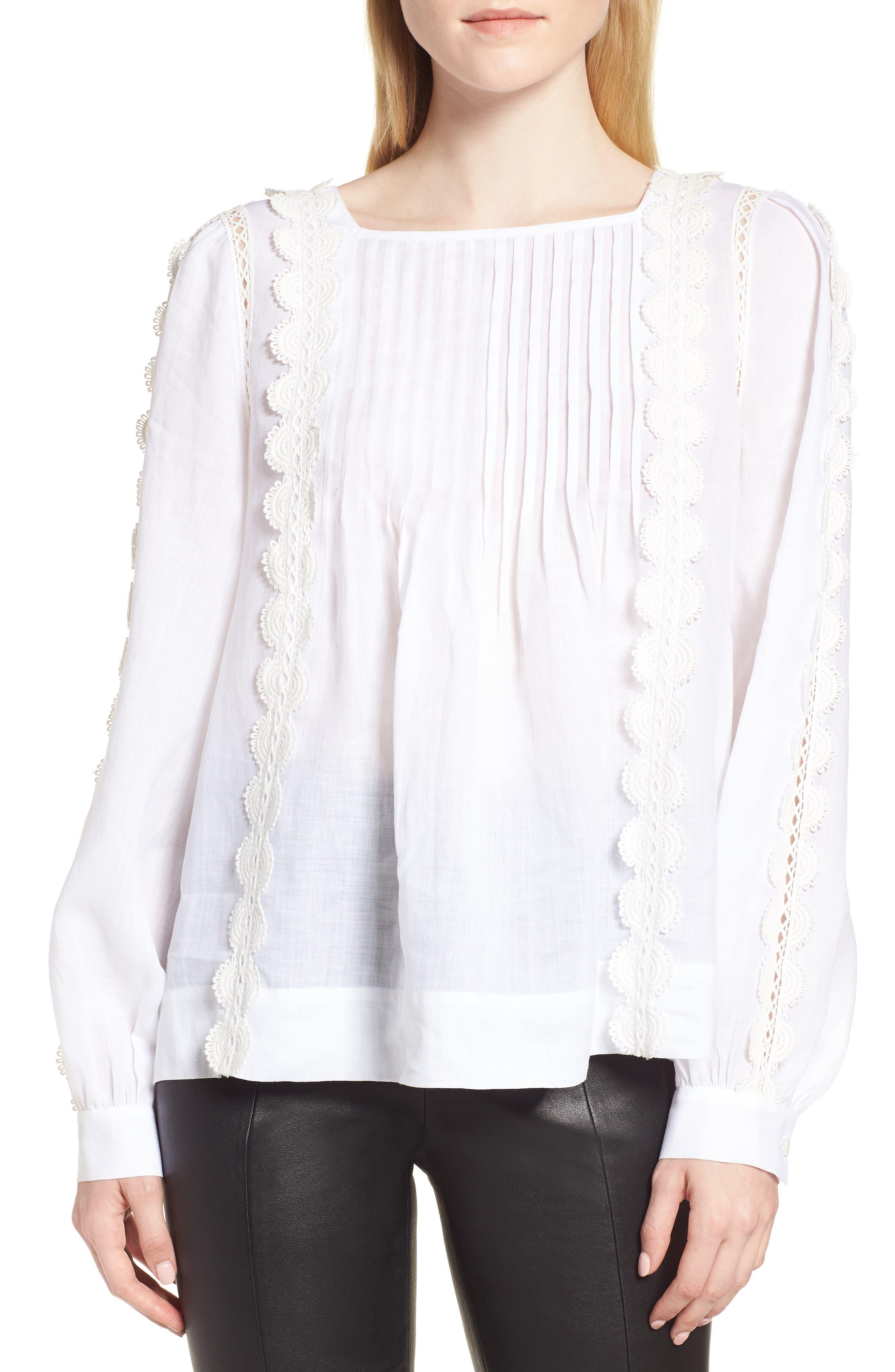 Pintuck Crochet Appliqué Blouse,                         Main,                         color, 100