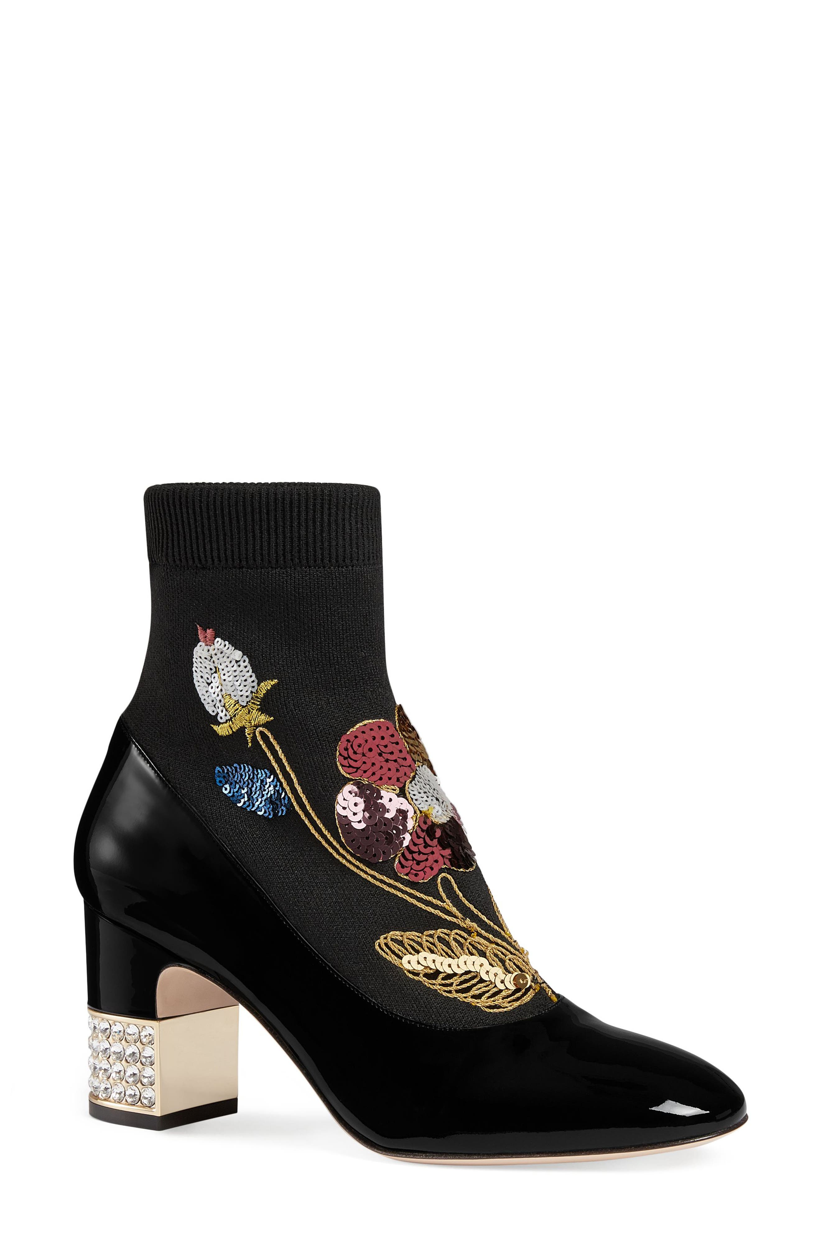 Candy Floral Embroidered Bootie,                             Main thumbnail 1, color,                             BLACK