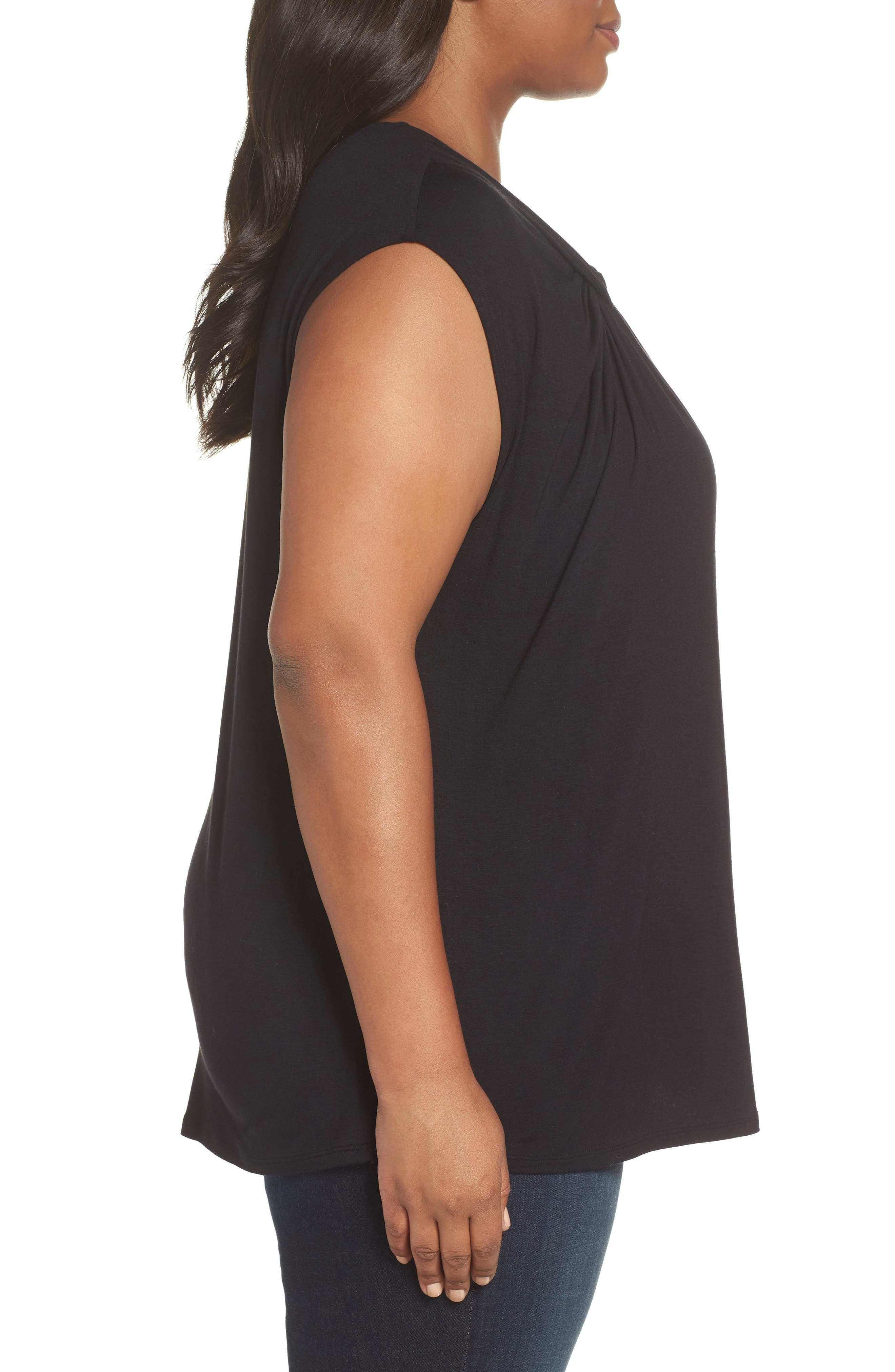 Twisted Neck Cap Sleeve Top,                             Alternate thumbnail 3, color,                             BLACK