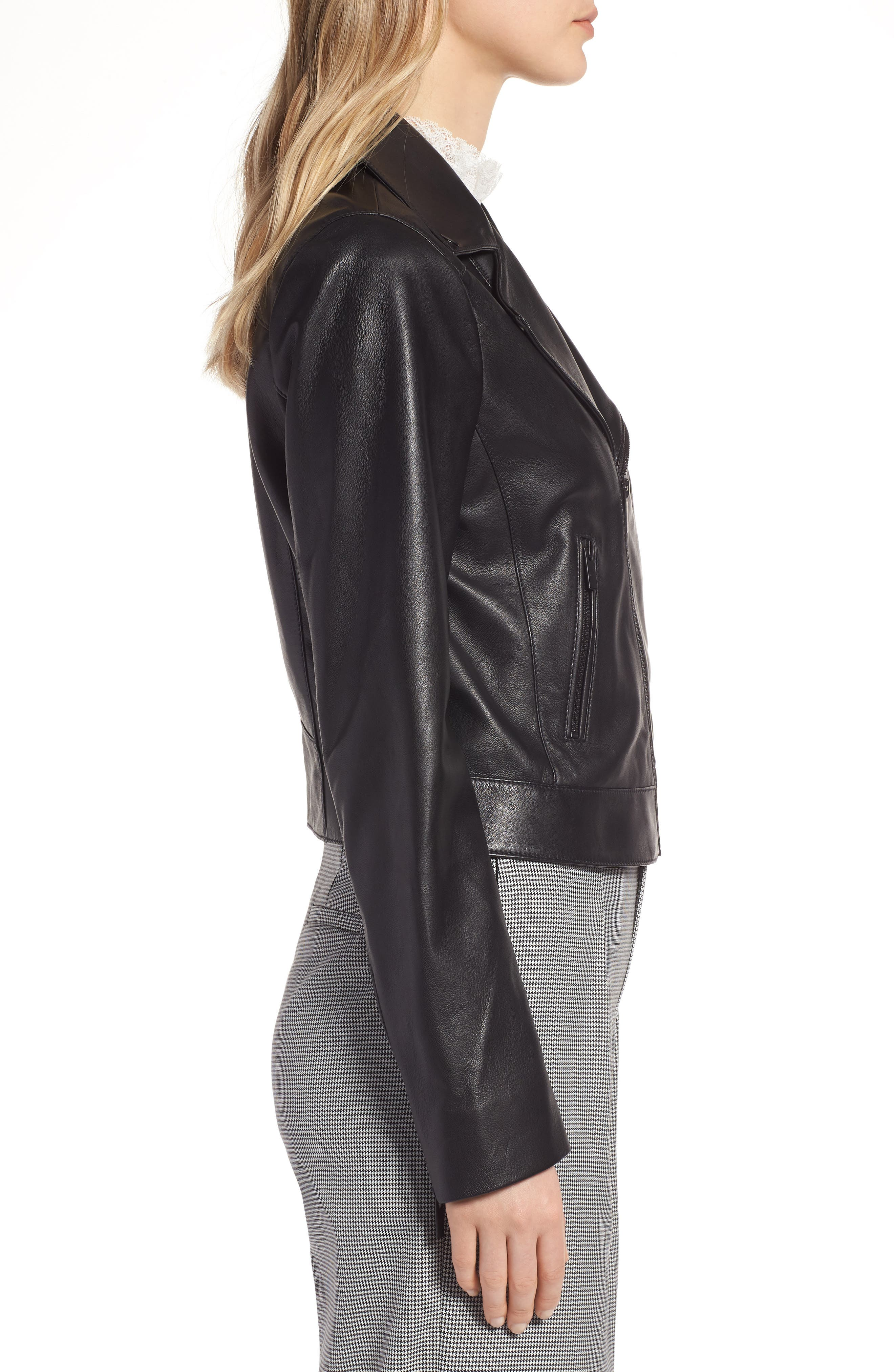 Leather Moto Jacket,                             Alternate thumbnail 3, color,                             001