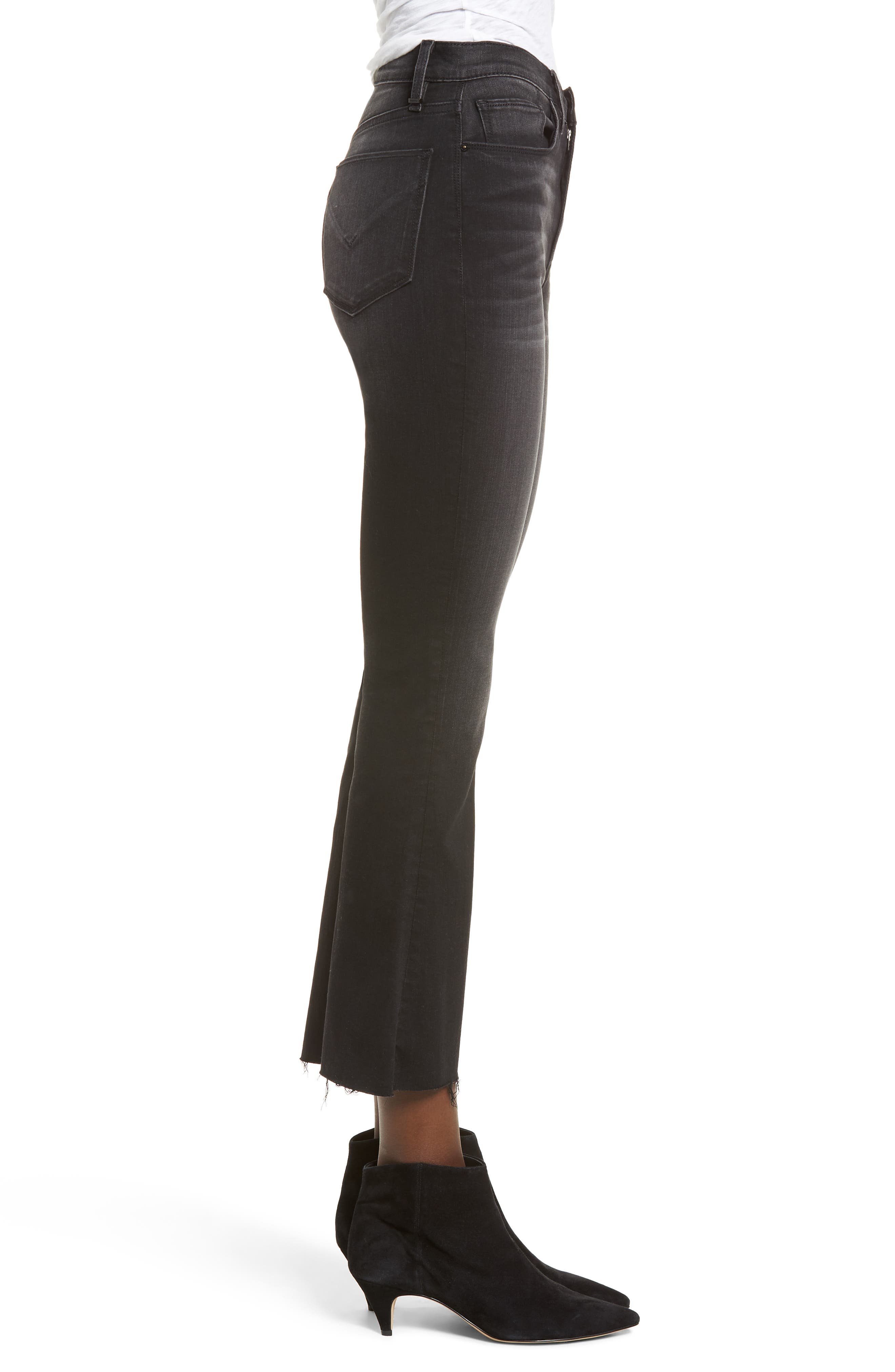 Holly High Waist Crop Flare Jeans,                             Alternate thumbnail 3, color,                             BLACK HOUND