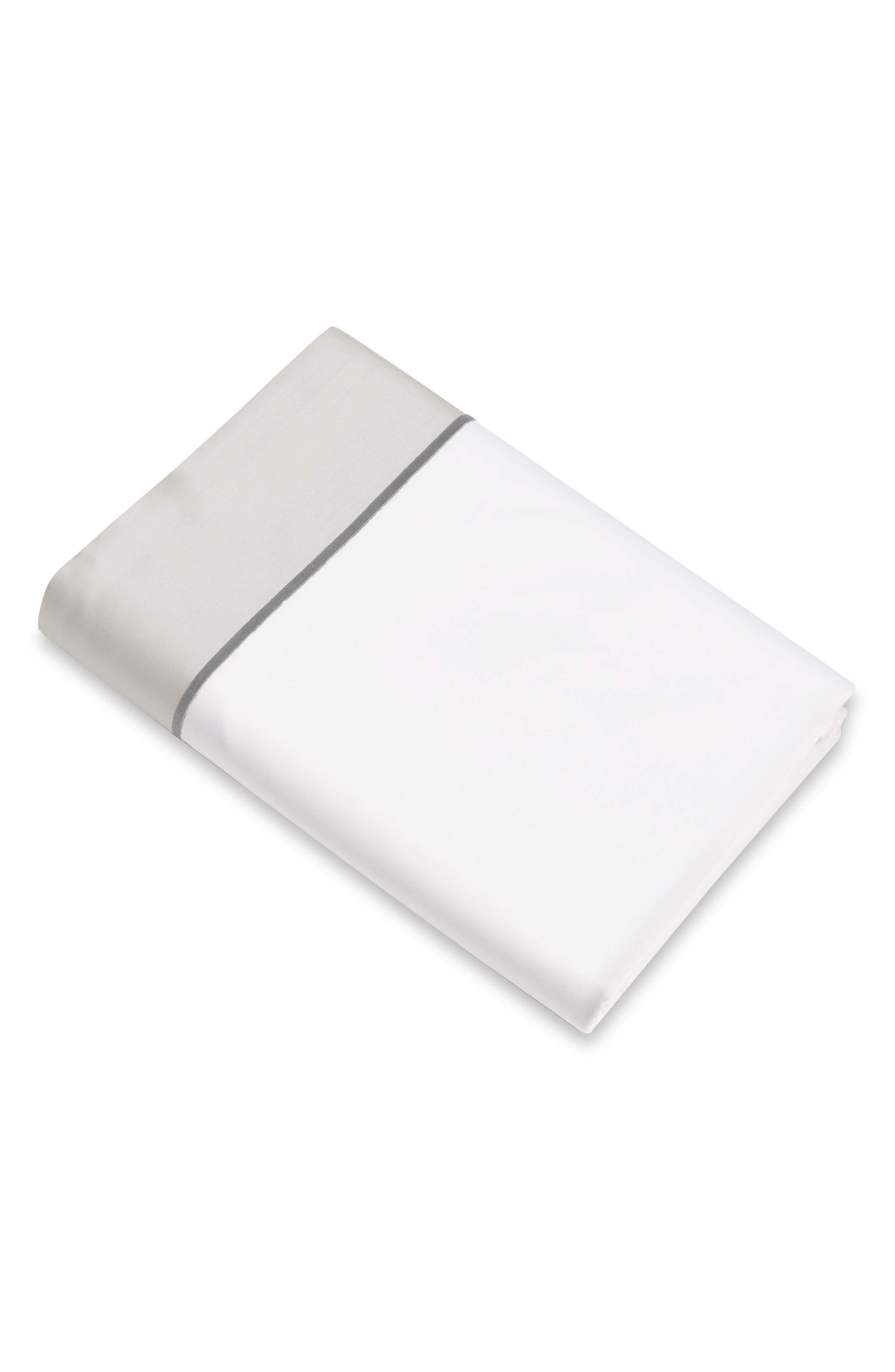 Signoria Firenze Luna 600 Thread Count Flat Sheet,                         Main,                         color, WHITE/PEARL