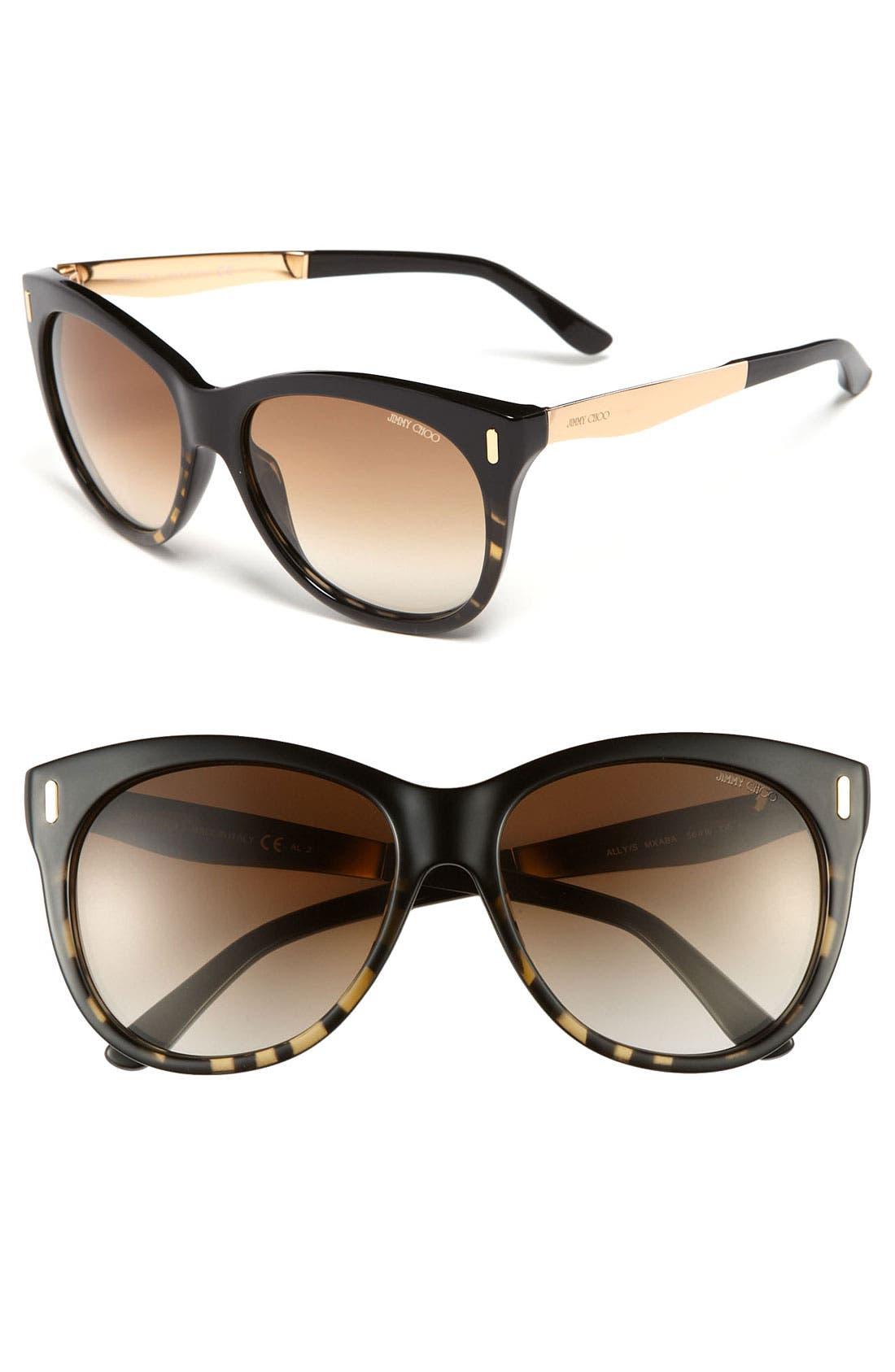 'Ally' 56mm Retro Sunglasses,                         Main,                         color, 001