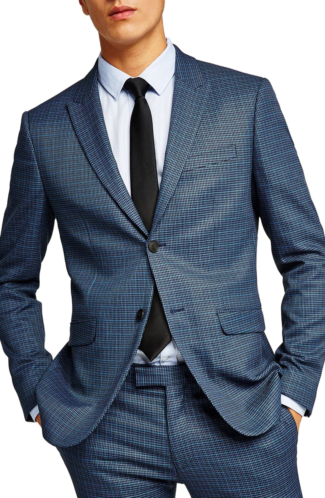 Check Skinny Fit Suit Jacket,                         Main,                         color, 401