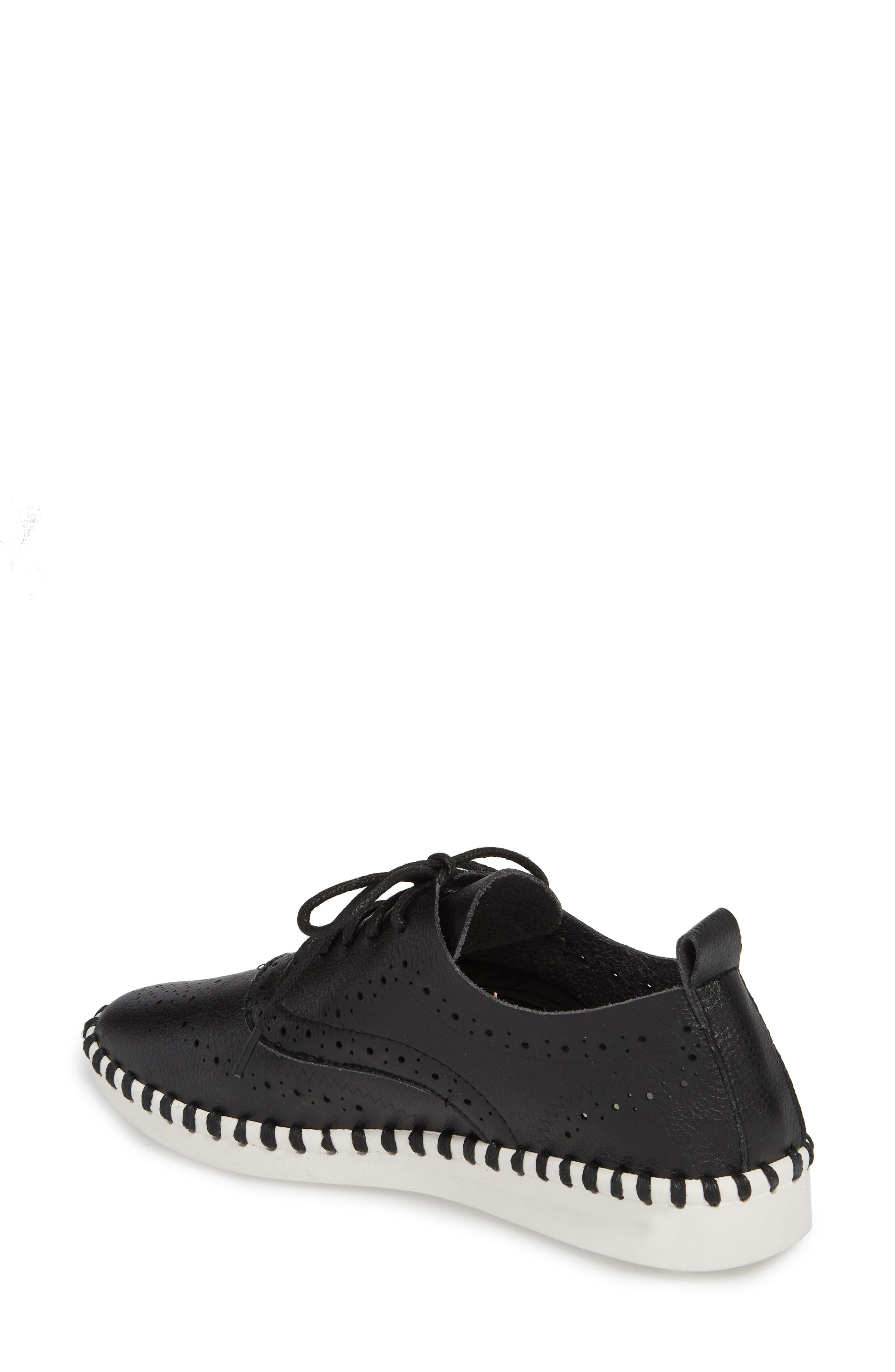 Salinas Waterproof Brogue Lace-Up Sneaker,                             Alternate thumbnail 2, color,                             BLACK FAUX LEATHER