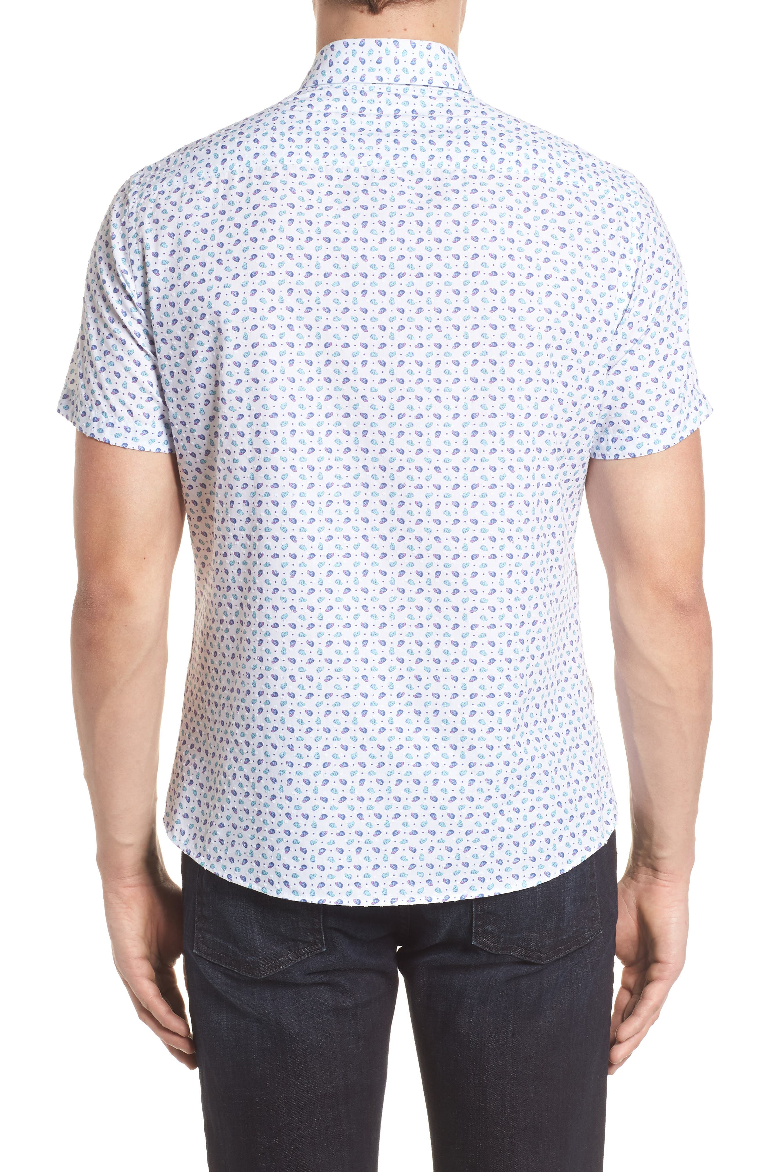 Contemporary Fit Cap Print Sport Shirt,                             Alternate thumbnail 2, color,                             100