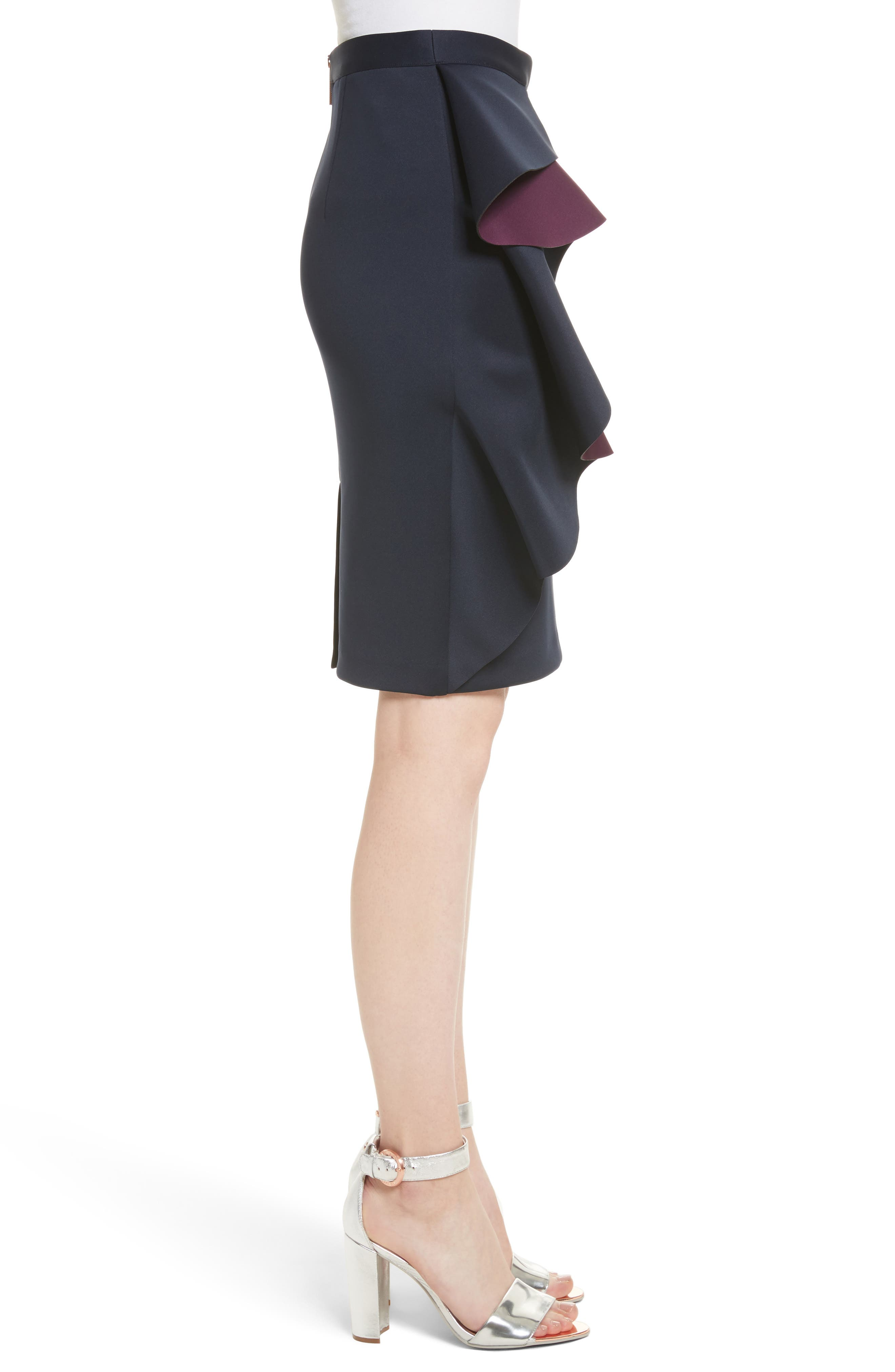 Derosa Oversize Ruffle Pencil Skirt,                             Alternate thumbnail 3, color,                             402