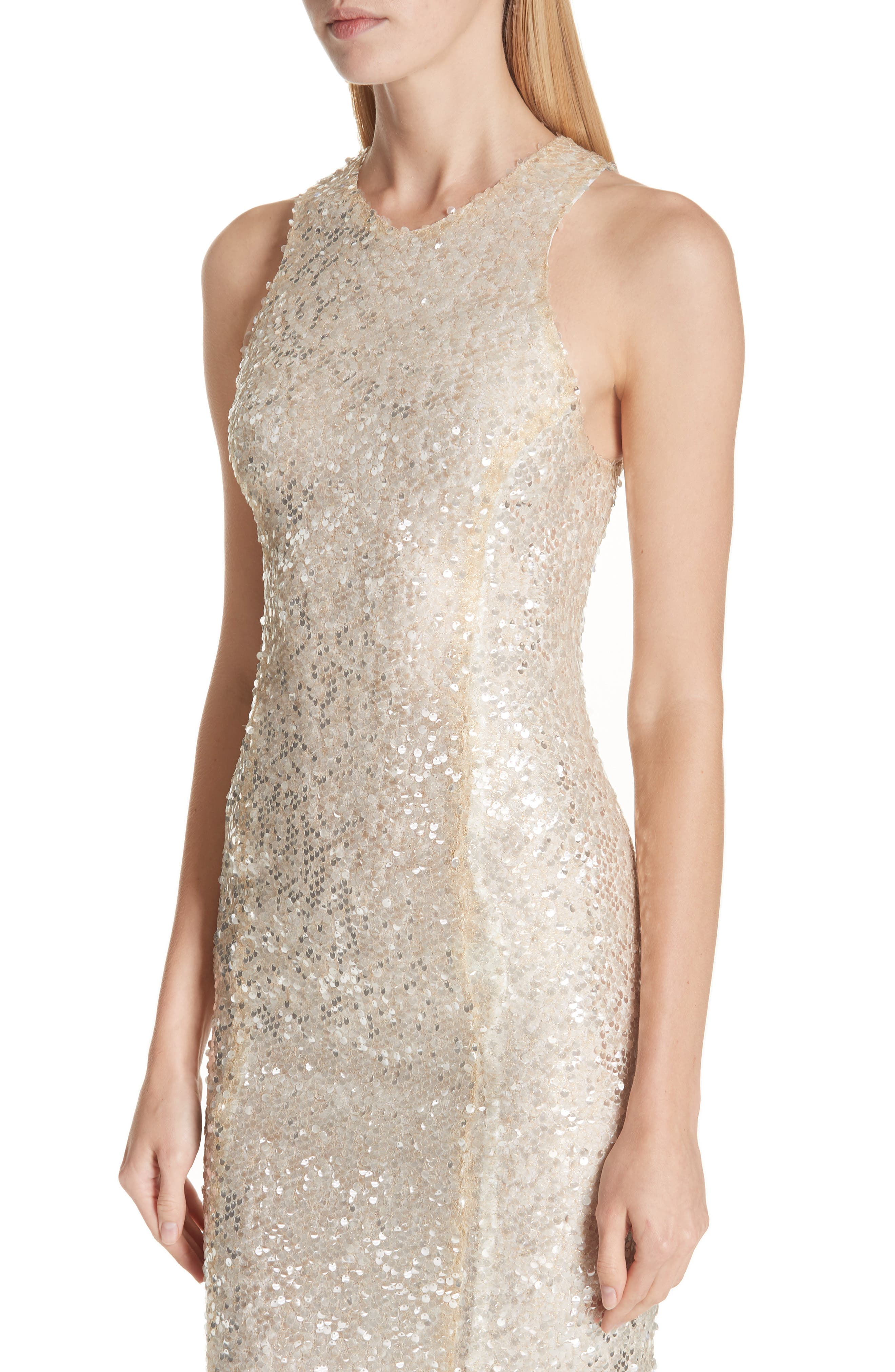 Sequin Racerback Gown,                             Alternate thumbnail 4, color,                             GOLD