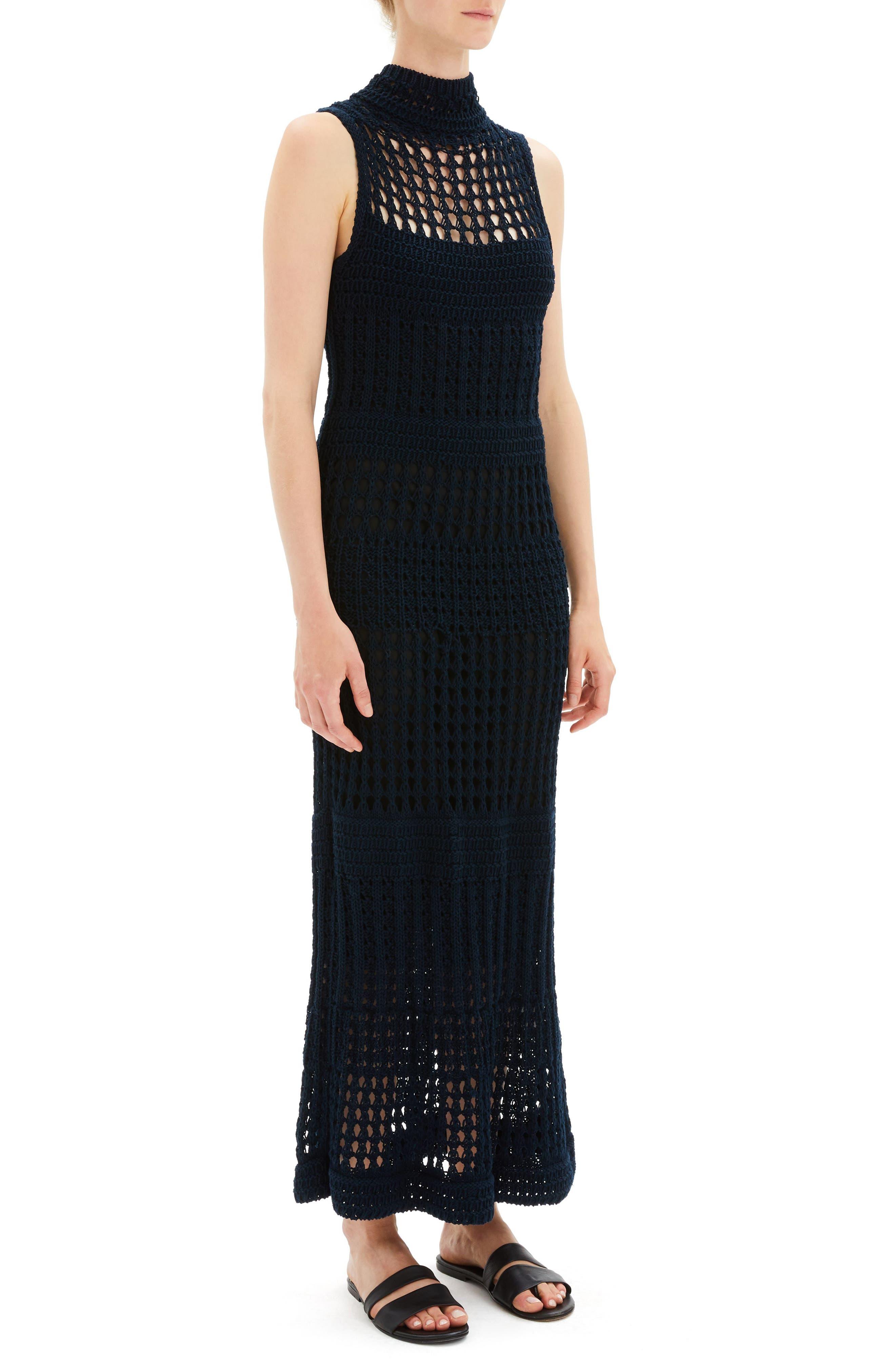 Mixed Knit Maxi Dress,                             Alternate thumbnail 3, color,                             DEEP NAVY