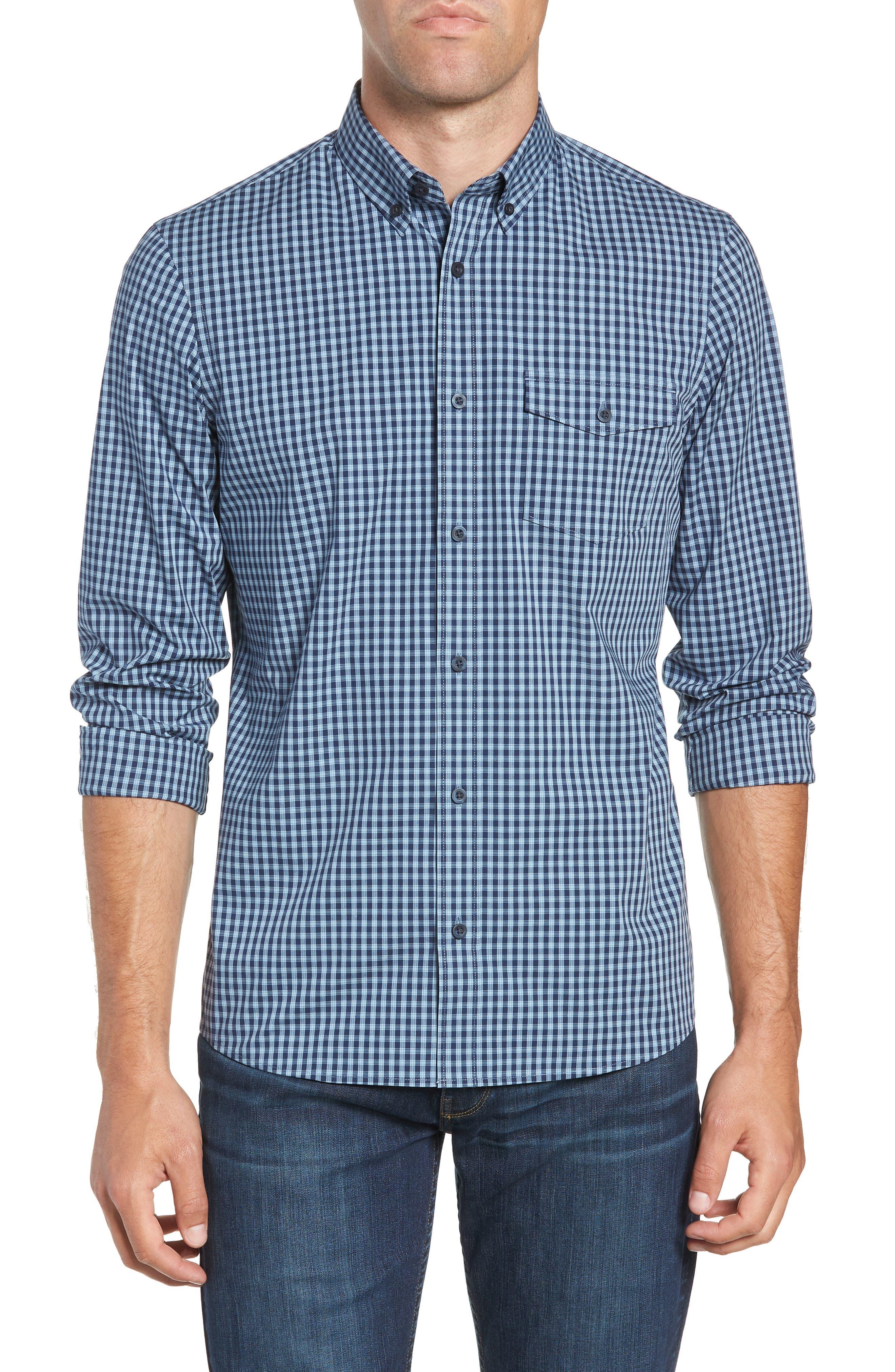 Tech-Smart Slim Fit Check Sport Shirt,                             Main thumbnail 1, color,                             NAVY NIGHT BLUE CHECK