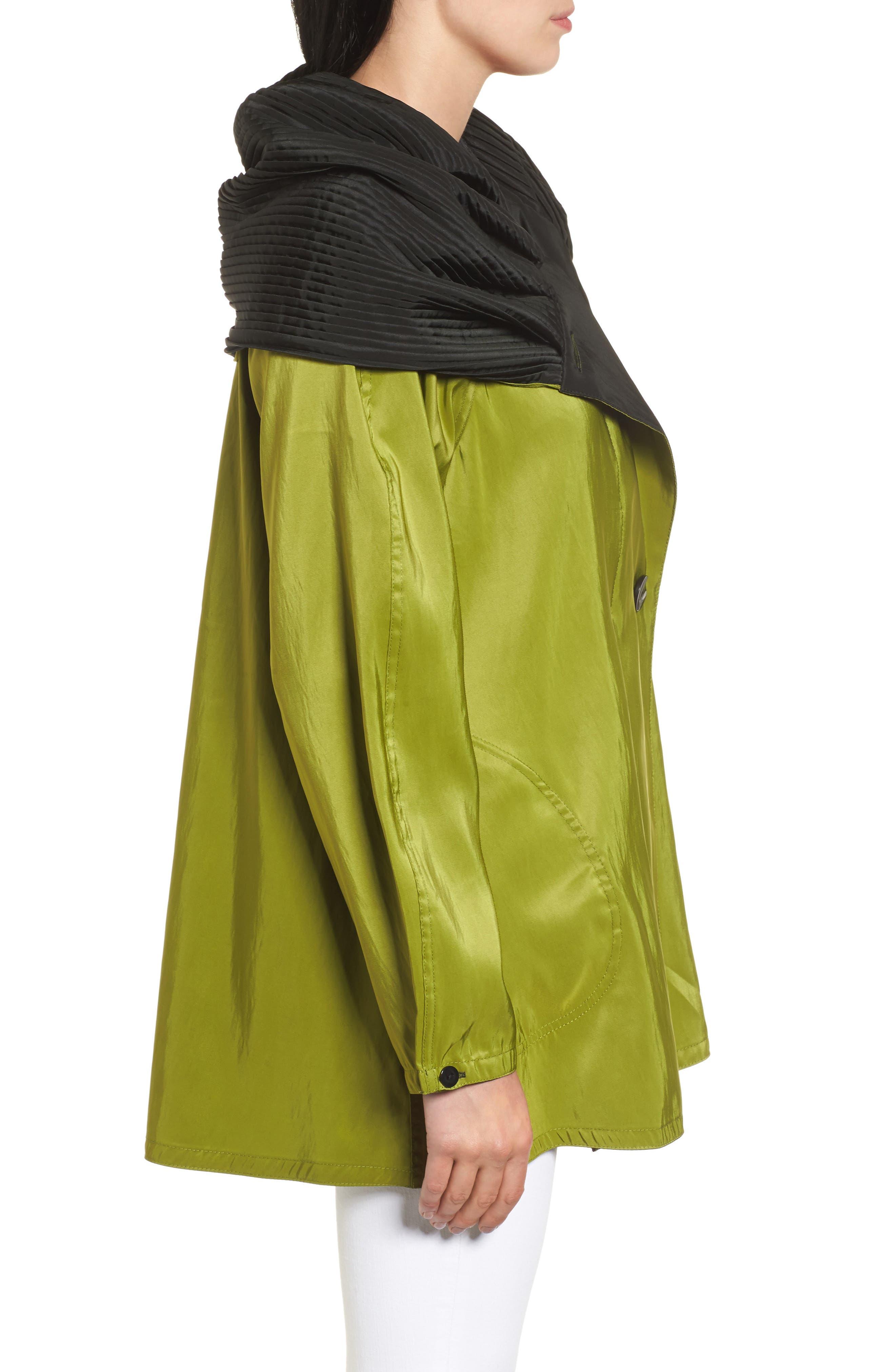 'Mini Donatella' Reversible Pleat Hood Packable Travel Coat,                             Alternate thumbnail 3, color,                             316